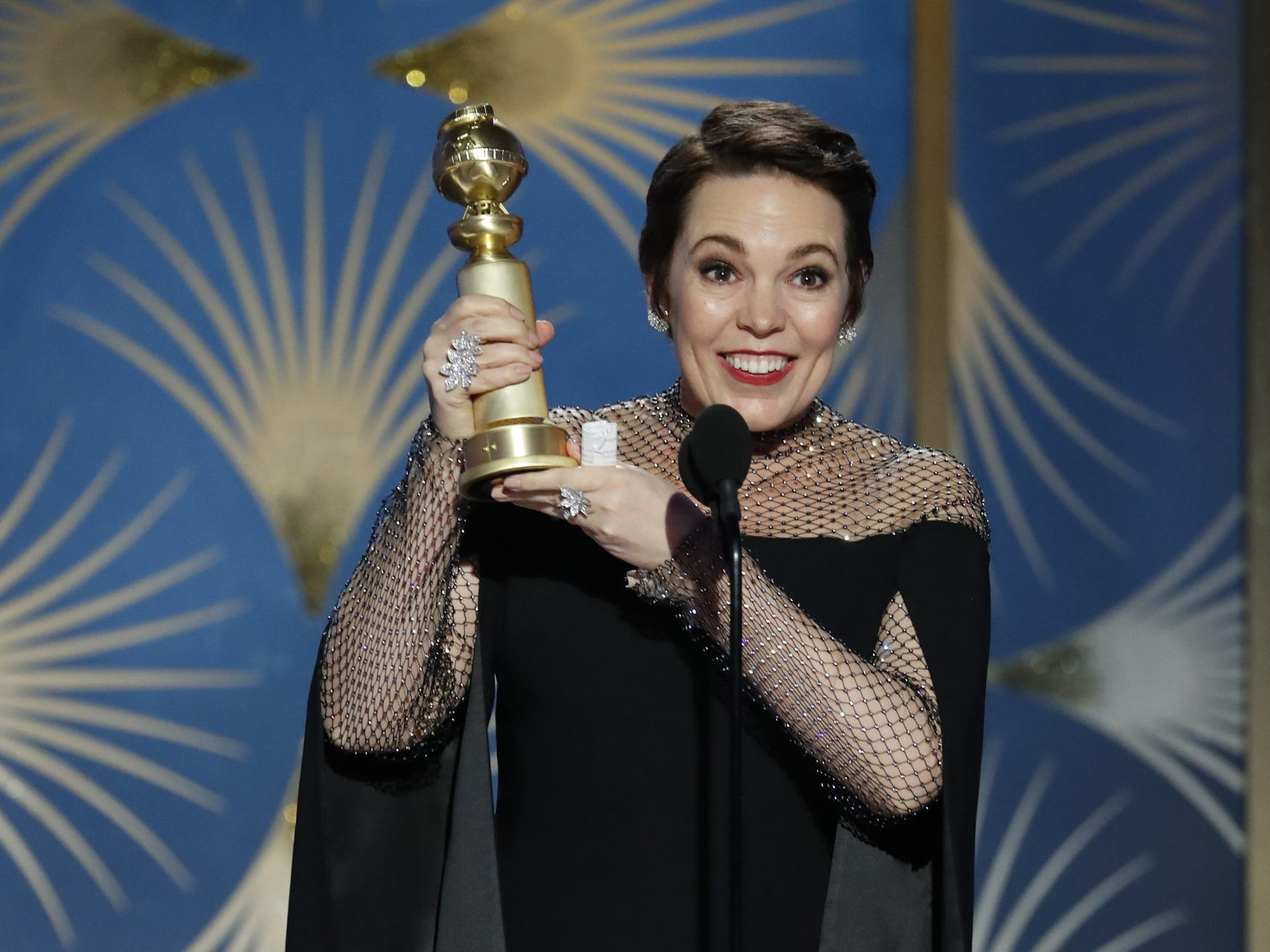Olivia Colman accepts her award for Best Actress - Motion Picture, Musical or Comedy during the 76th Golden Globe Awards.