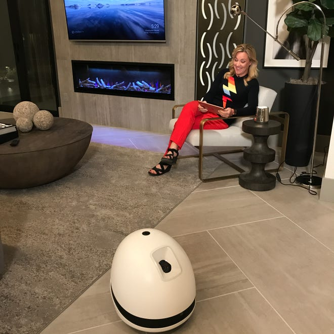 Jennifer Jolly meets Keeker, the robot in the Projekt home that's standing by to wait on her.