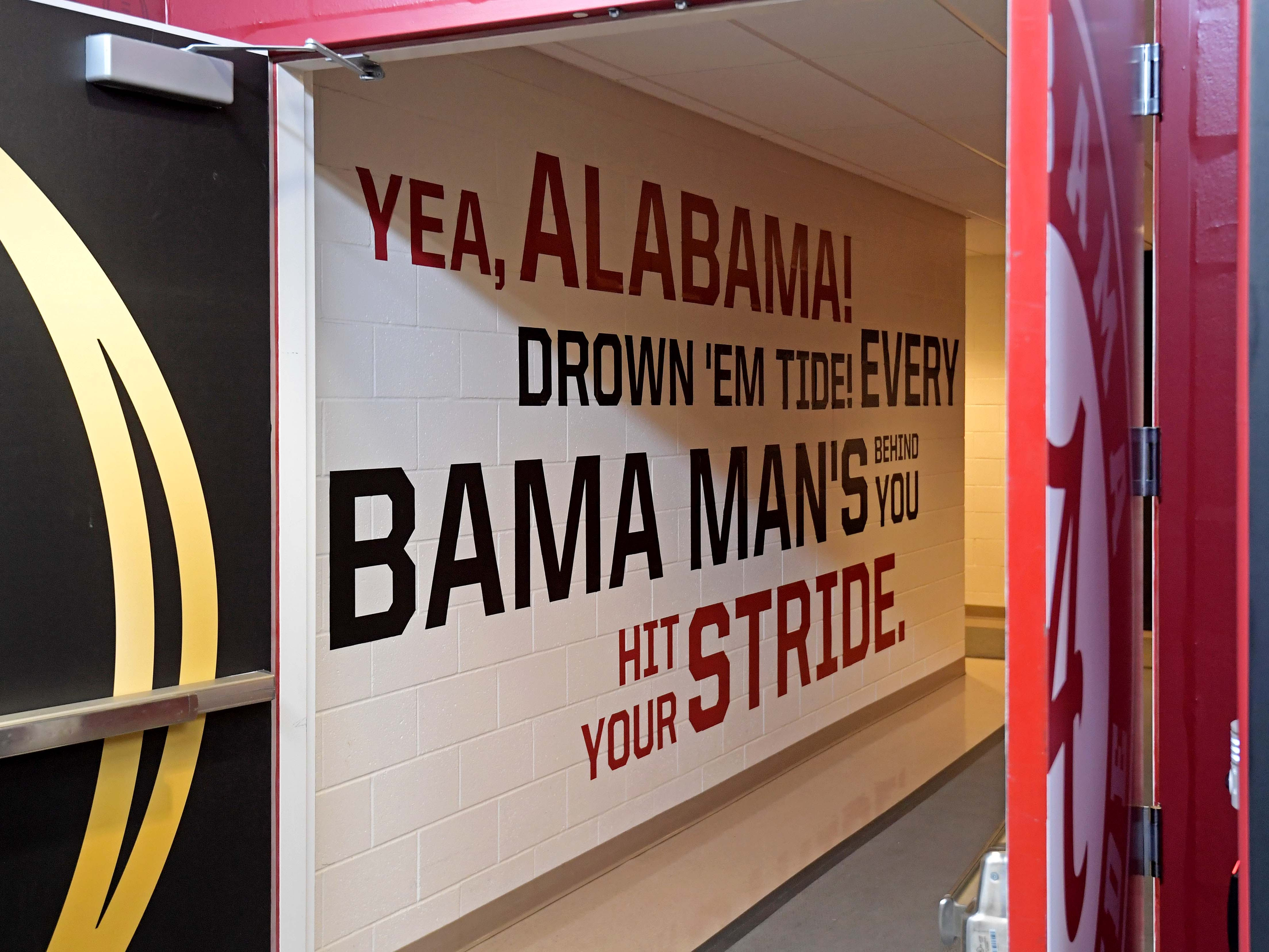 A view of the Alabama Crimson Tide locker room.