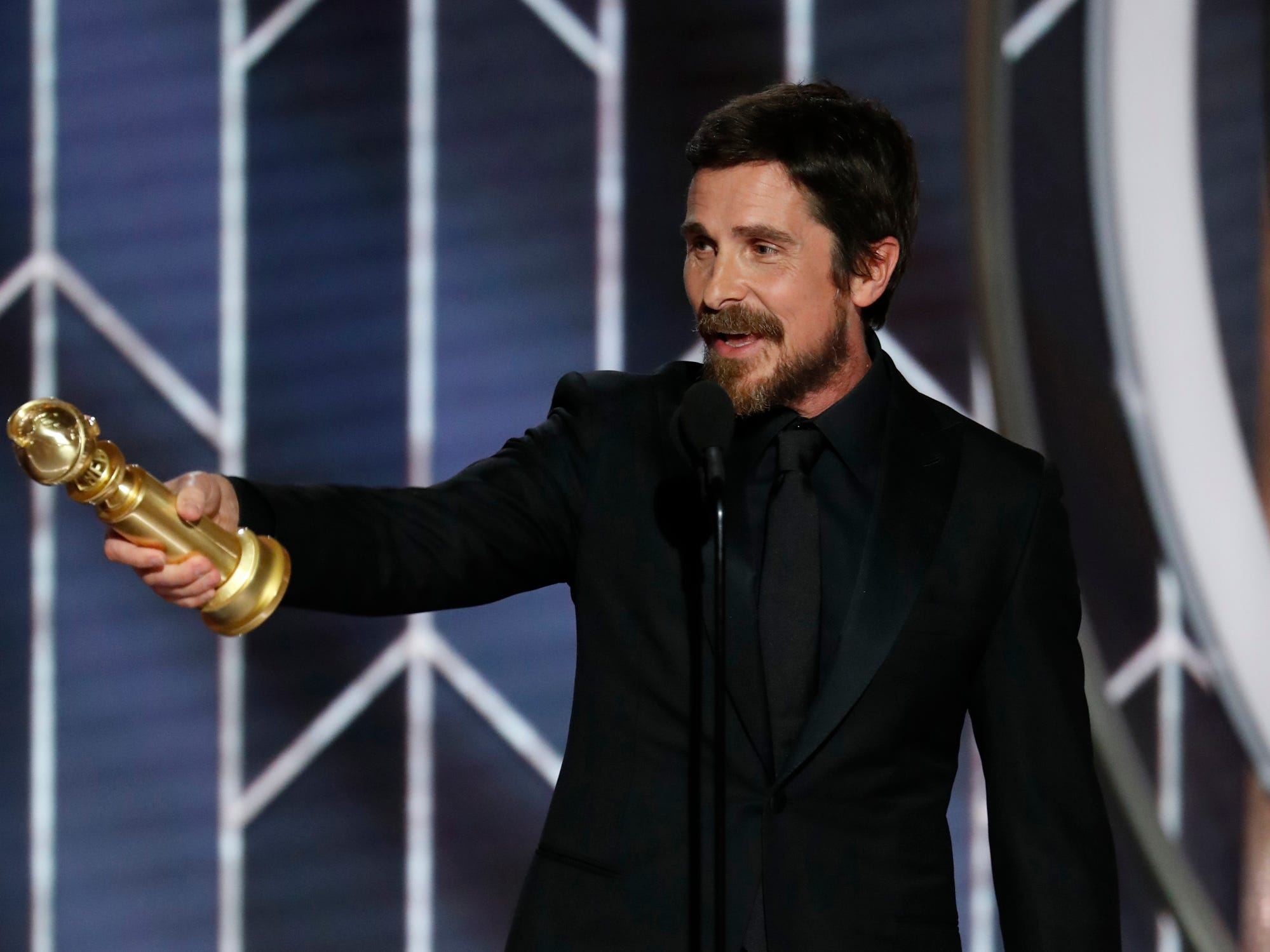 "Christian Bale accepts the award for Best Actor - Motion Picture, Musical or Comedy, ""Vice"" during the 76th Golden Globe Awards."