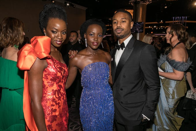 Jan 6, 2019; Beverly Hills, CA, USA; From left to right, Danai Gurira, Lupita Nyong'o and Michael B. Jordan, arrive during the 76th Golden Globe Awards in the International Ballroom at the Beverly Hilton. Mandatory Credit: David Sprague-USA TODAY ORIG FILE ID:  20190106_ajw_ooo_469.jpg