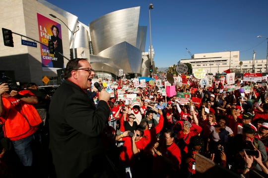 United Teachers Los Angeles President Alex Caputo-Pearl addresses thousands of teachers, who may go on strike against the nation's second-largest school district.