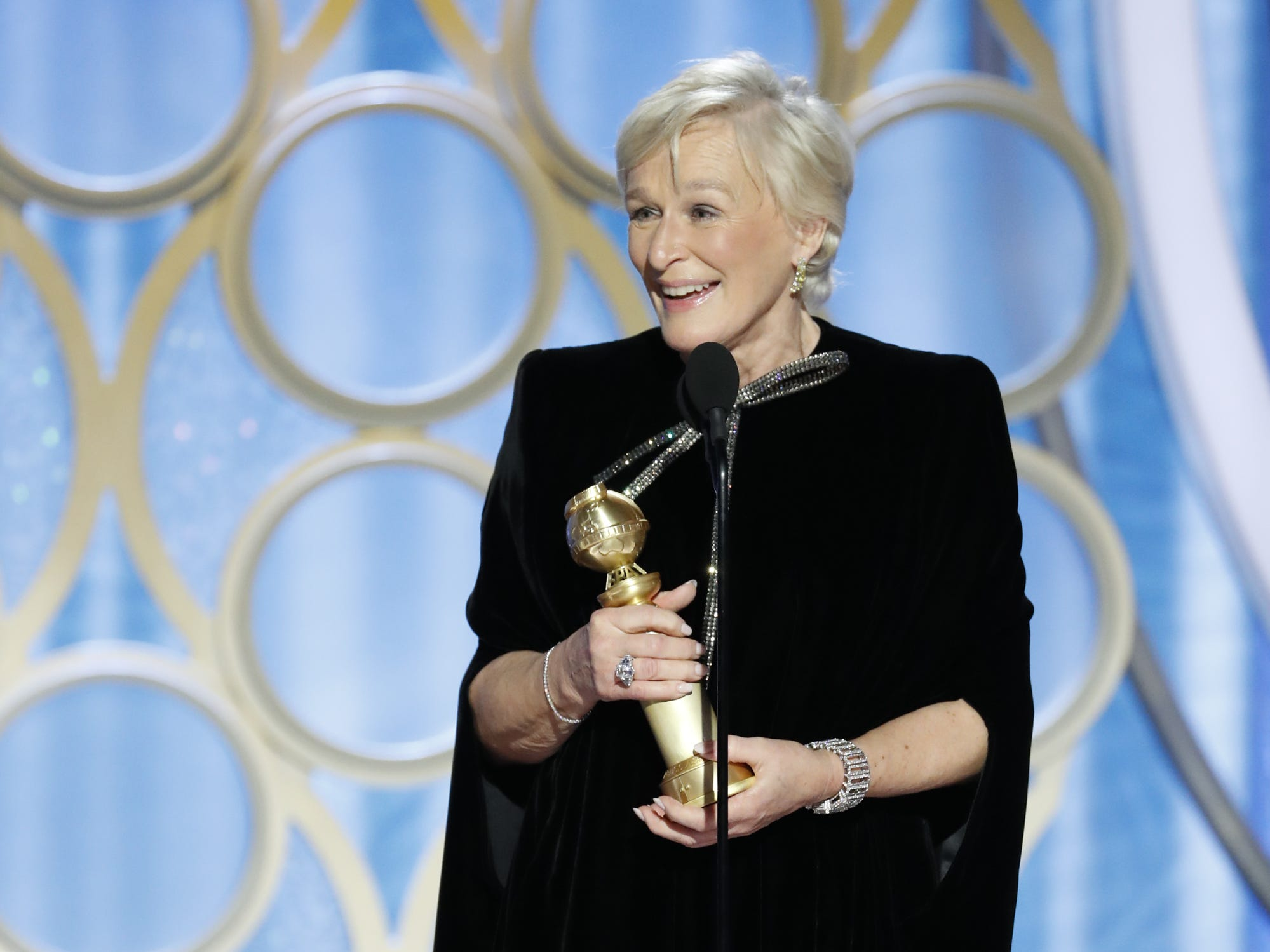 Glenn Close accepts the award for Best Actress - Motion Picture, Drama during the 76th Golden Globe Awards.