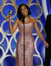 "An overjoyed Regina King won her first Golden Globe for ""If Beale Street Could Talk."""