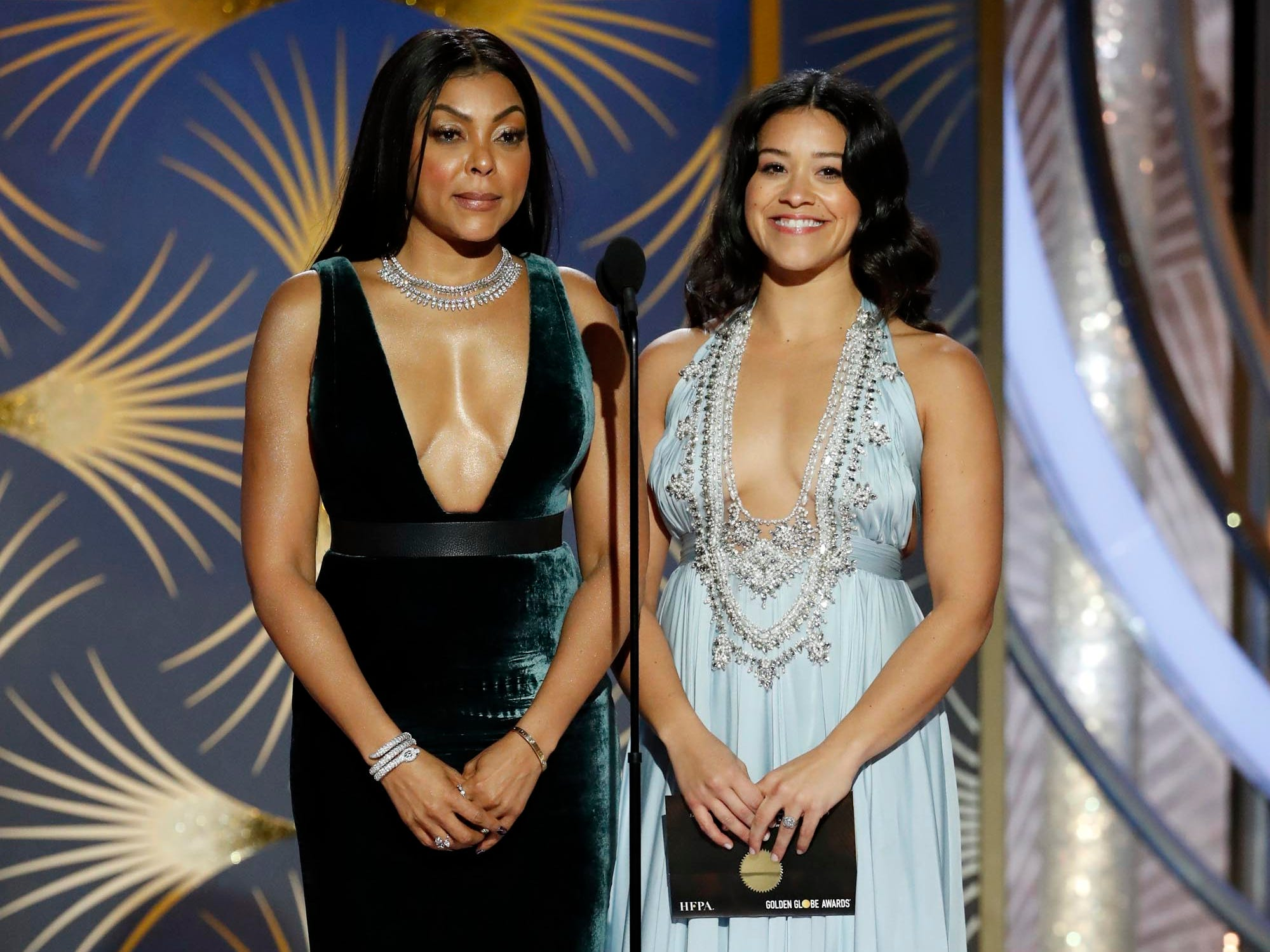 Taraji P. Henson and Gina Rodriguez present during the 76th Golden Globe Awards.