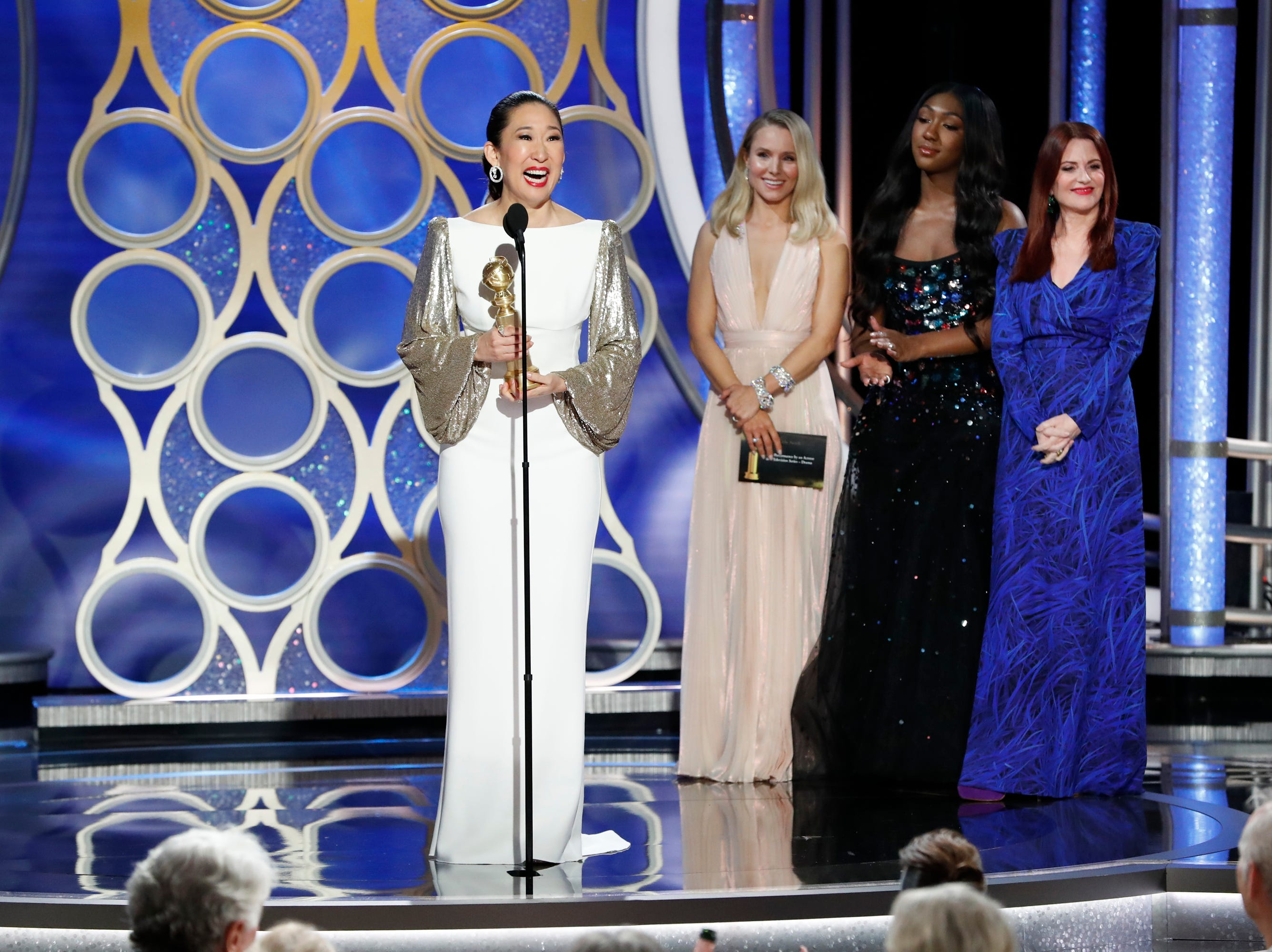 BEVERLY HILLS, CALIFORNIA - JANUARY 06: In this handout photo provided by NBCUniversal, Sandra Oh from Killing Eve accept the Best Performance by an Actress in a Television Series  Drama award  onstage during the 76th Annual Golden Globe Awards at The Beverly Hilton Hotel on January 06, 2019 in Beverly Hills, California.  (Photo by Paul Drinkwater/NBCUniversal via Getty Images) ORG XMIT: 775268380 ORIG FILE ID: 1078367162