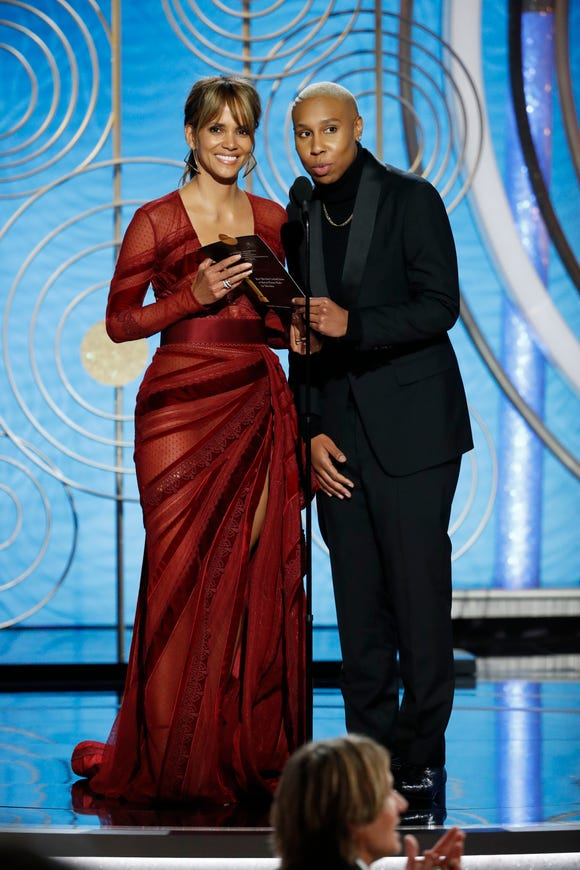 """Halle Berry and Lena Waithe, right, presented together at Sunday's Globes (and jointly produced BET's upcoming comedy, """"Boomerang"""")."""