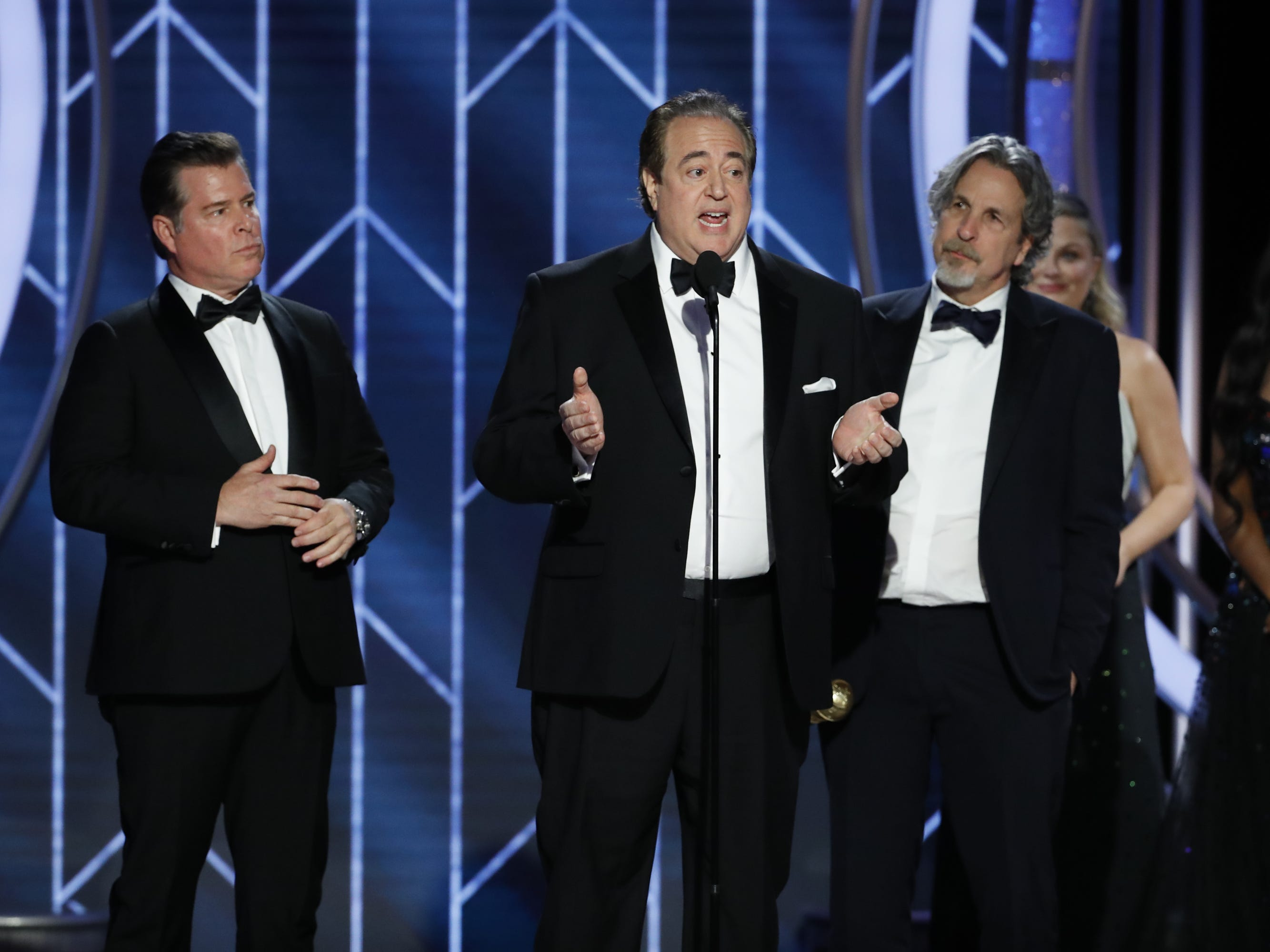 Nick Vallelonga accepts the award for Best Screenplay - Motion Picture during the 76th Golden Globe Awards.