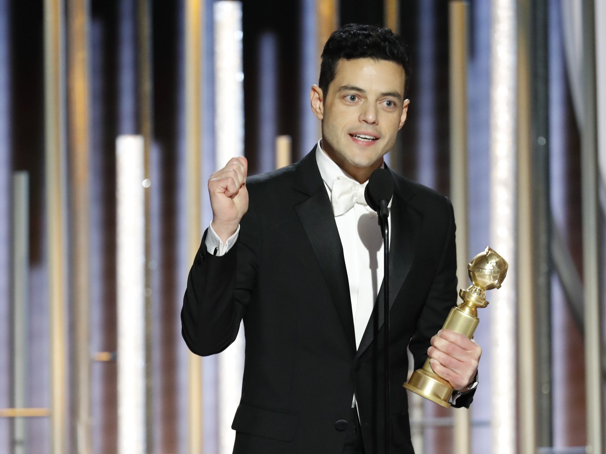 Rami Malek accepts the award for the Best Actor - Motion Picture, Drama during the 76th Golden Globe Awards.