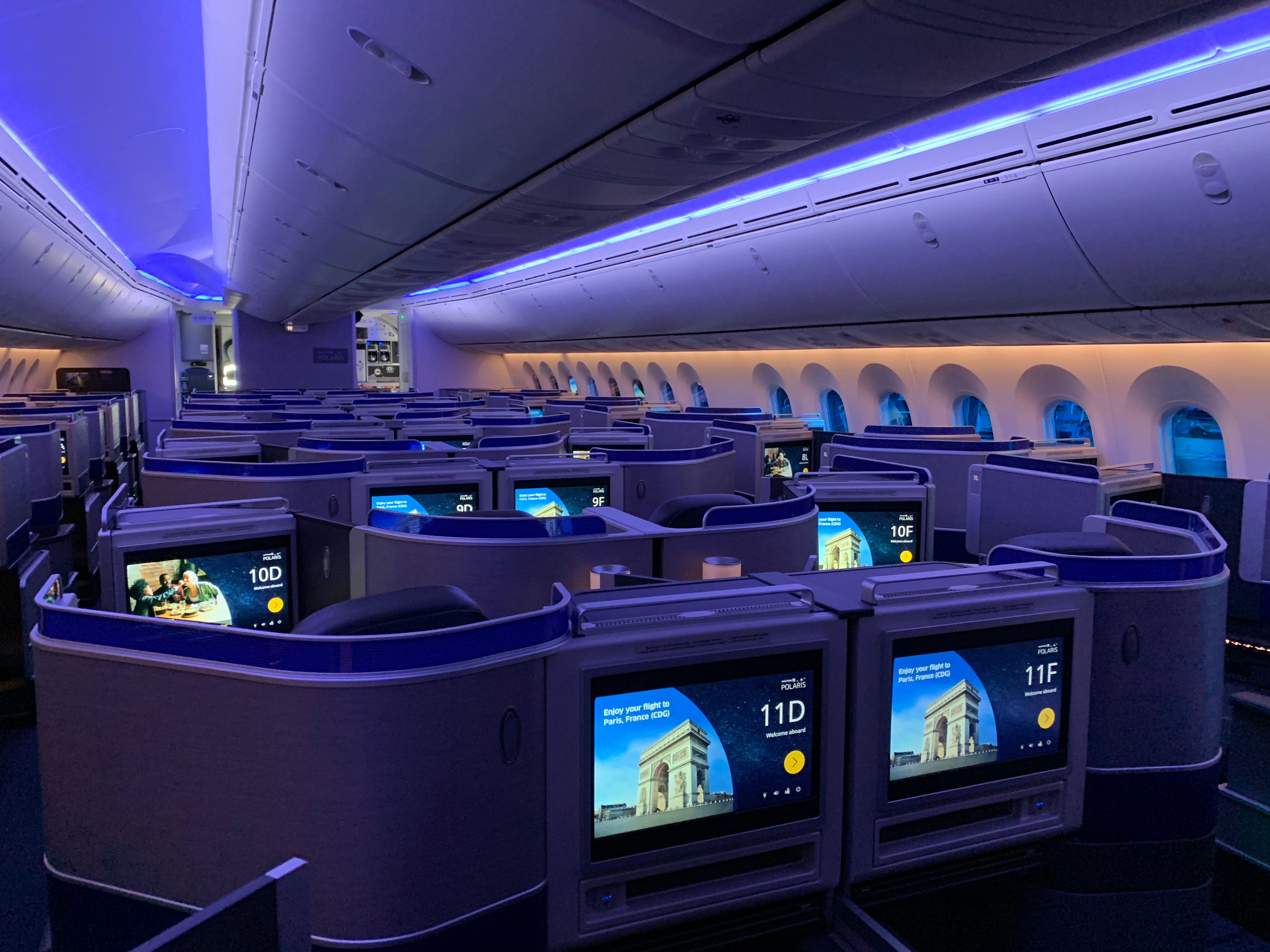 The 'Polaris' business-class cabin is seen on United Airlines' new Boeing 787-10 Dreamliner as it was prepared to enter commercial service at Washington Dulles airport on Nov. 16, 2018.
