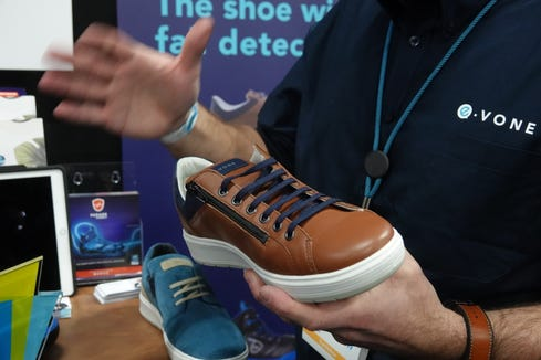 "E-vone is a new ""smart shoe,"" with fall detection and will be available on a subscription pricing model, at $35 monthly."