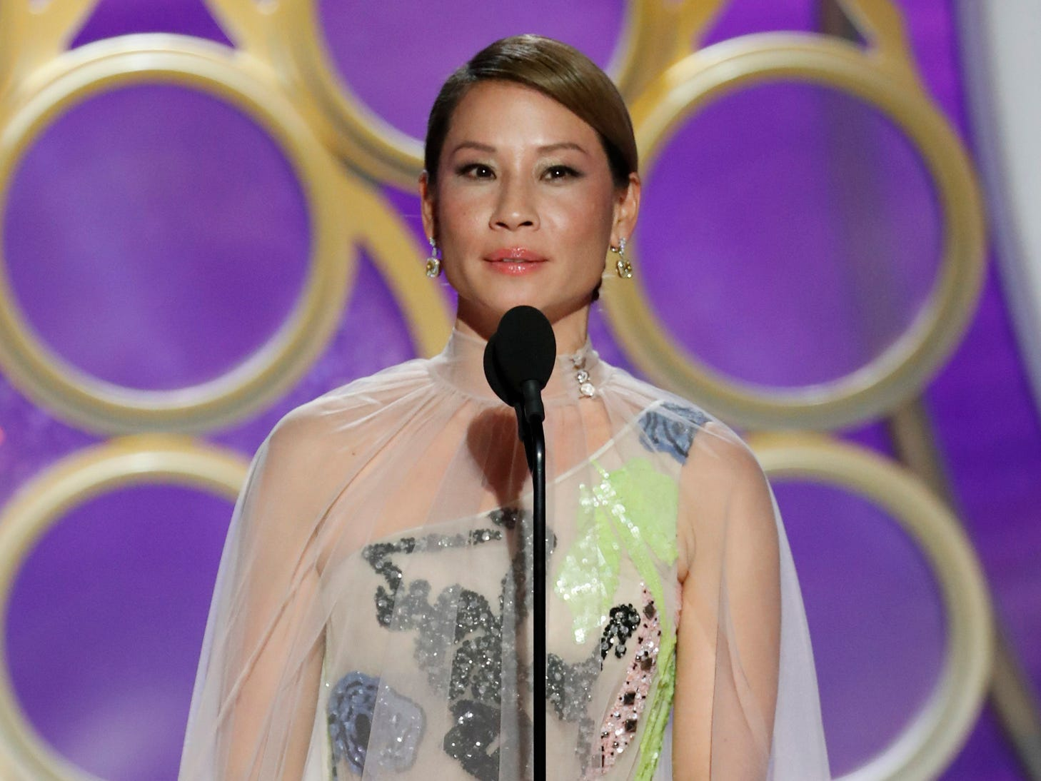 Lucy Liu speaks on stage during the 76th Golden Globe Awards.