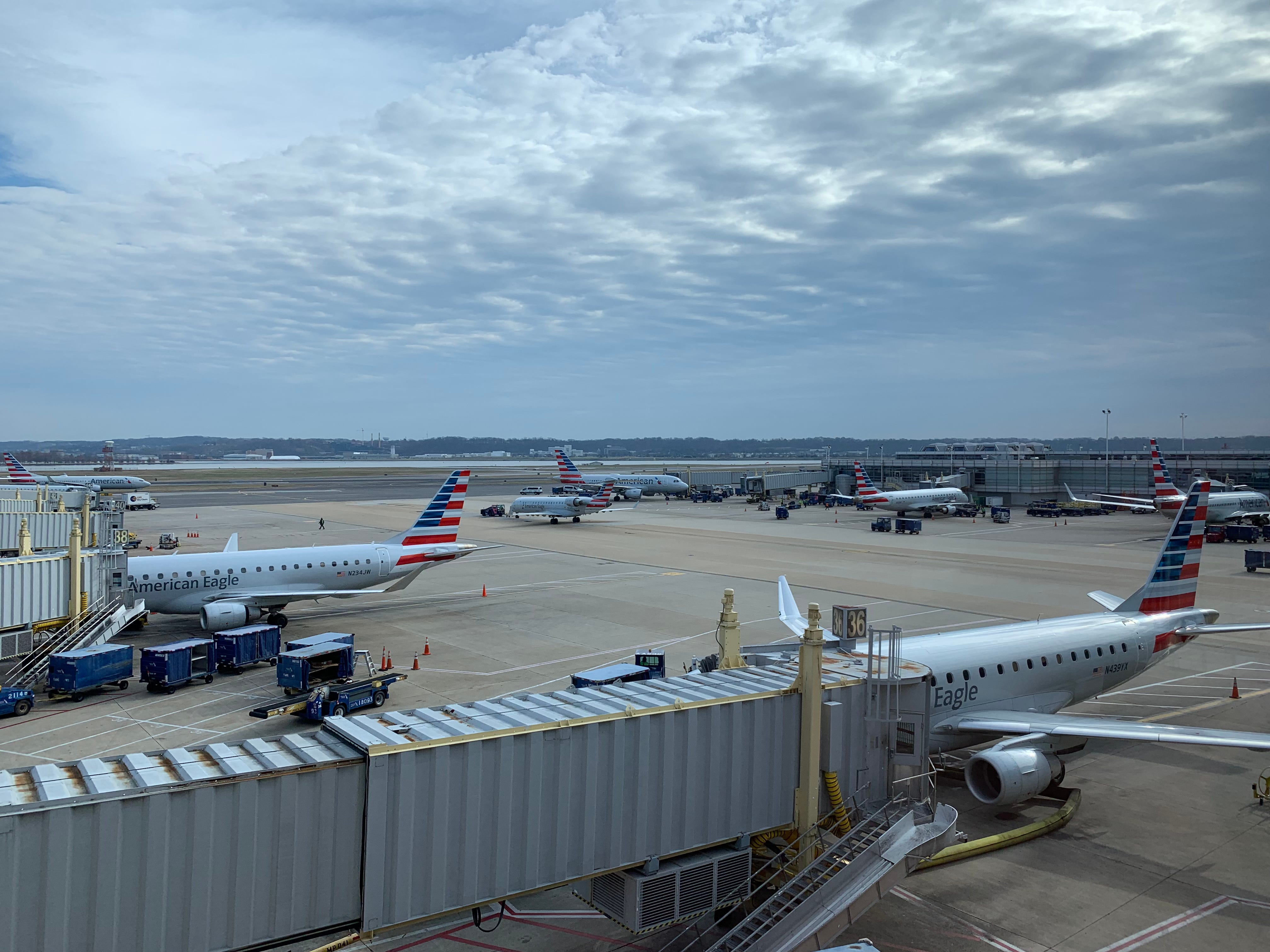 Gray skies hold over a lineup of American Airlines planes at Washington Reagan National Airport on Dec. 30, 2018.