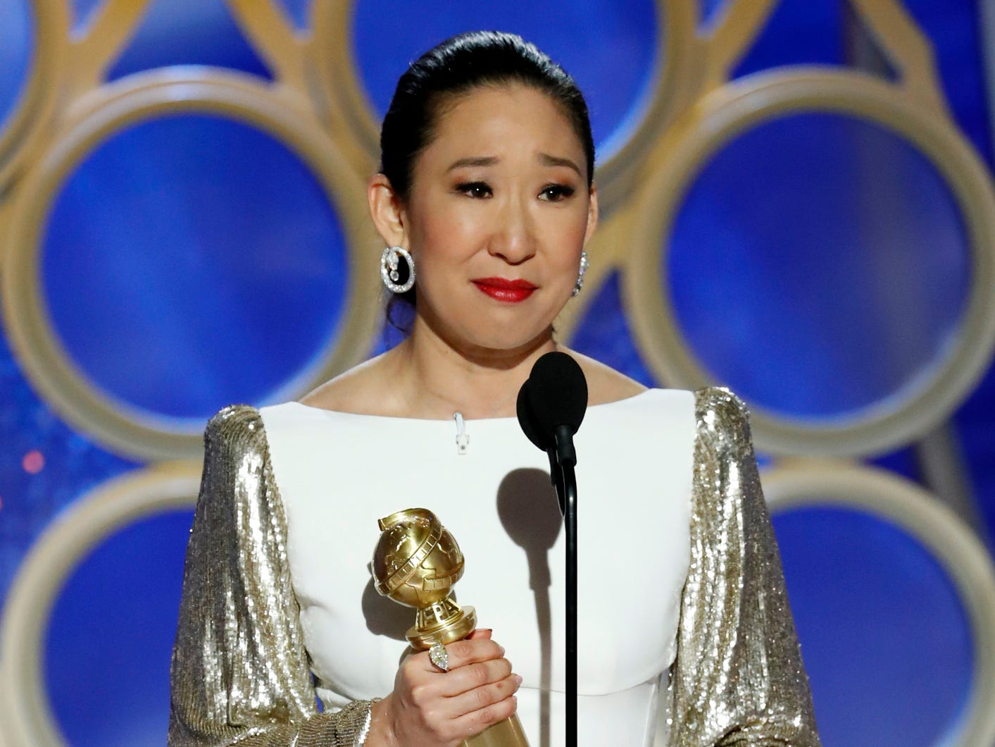 "Sandra Oh accepts the award for Best Actress - TV Series, Drama, for ""Killing Eve"" during the 76th Golden Globe Awards."