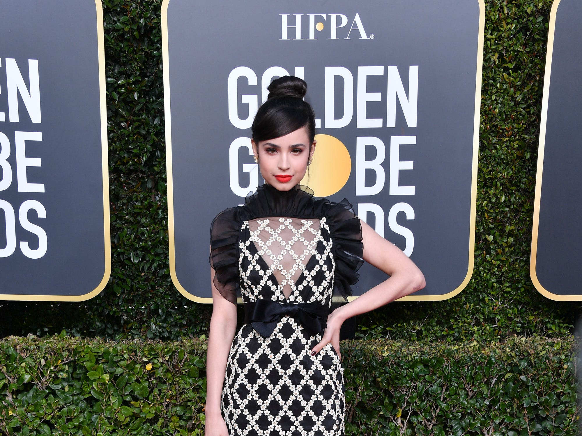 BEVERLY HILLS, CALIFORNIA - JANUARY 06: Sofia Carson attends the 76th Annual Golden Globe Awards held at The Beverly Hilton Hotel on January 06, 2019 in Beverly Hills, California. (Photo by George Pimentel/WireImage) ORG XMIT: 775268382 ORIG FILE ID: 1090669096