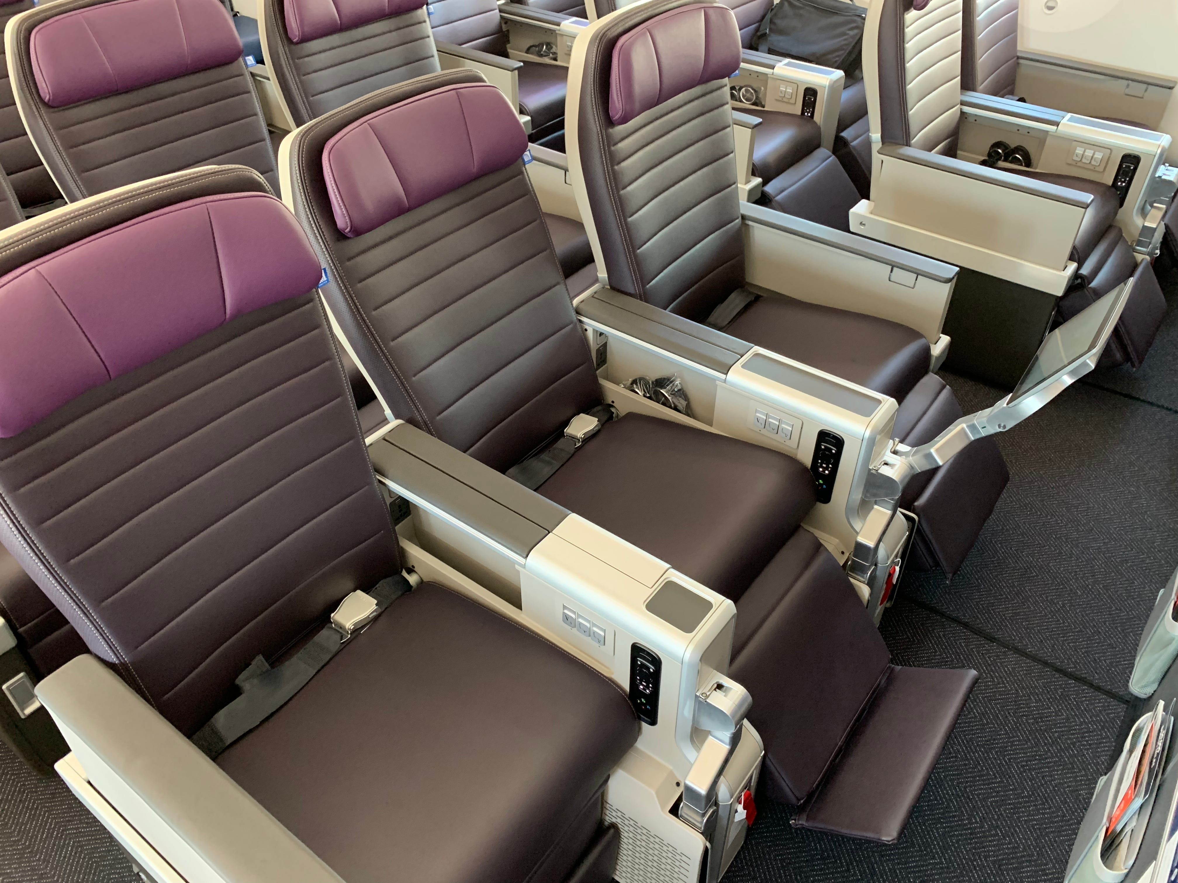 The new 'premium economy seat' is seen on United Airlines new Boeing 787-10 Dreamliner as it was prepared to enter commercial service at Washington Dulles airport on Nov. 16, 2018.