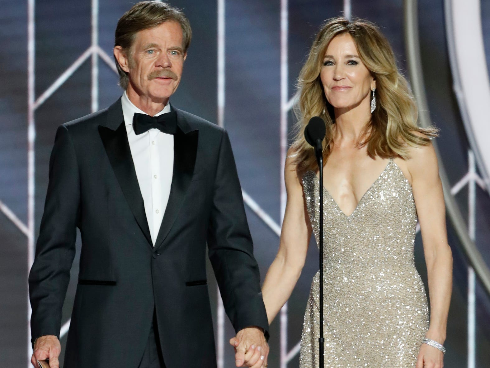 William H. Macy and Felicity Huffman present during the 76th Golden Globe Awards.