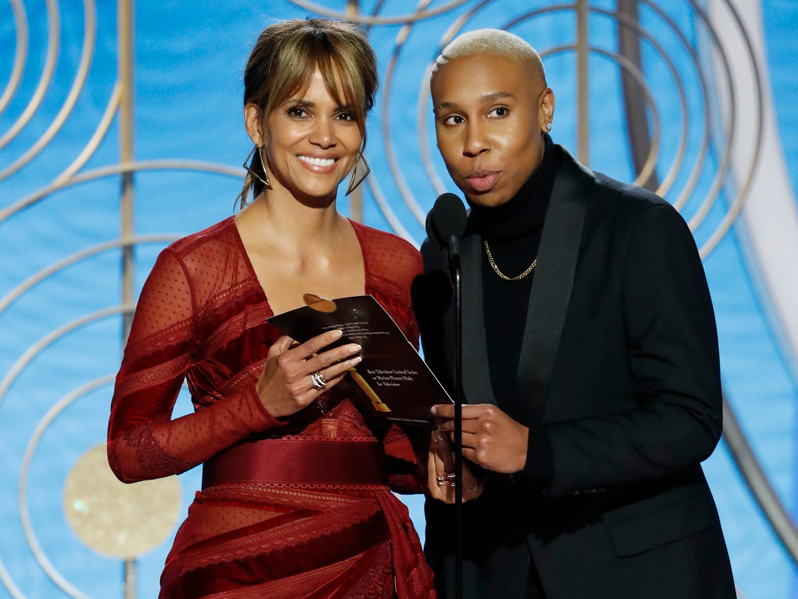 Halle Berry and Lena Waithe present during the 76th Golden Globe Awards.