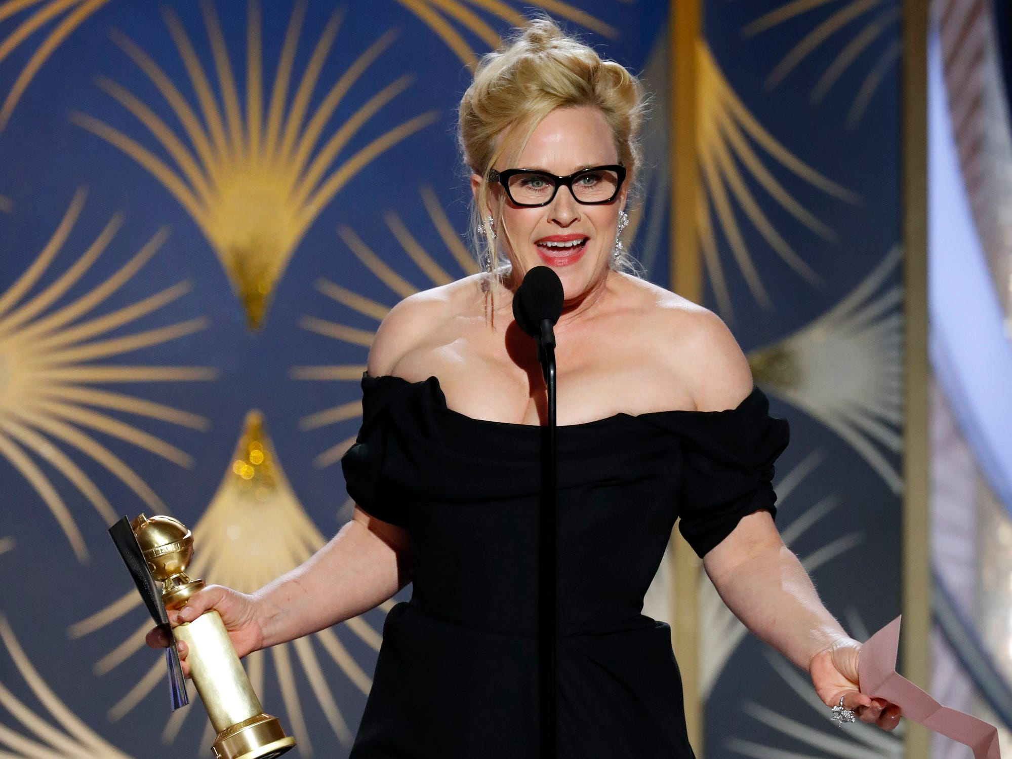 Patricia Arquette accepts the Best Actress - Limited Series or Motion Picture Made for TV award during the 76th Golden Globe Awards.