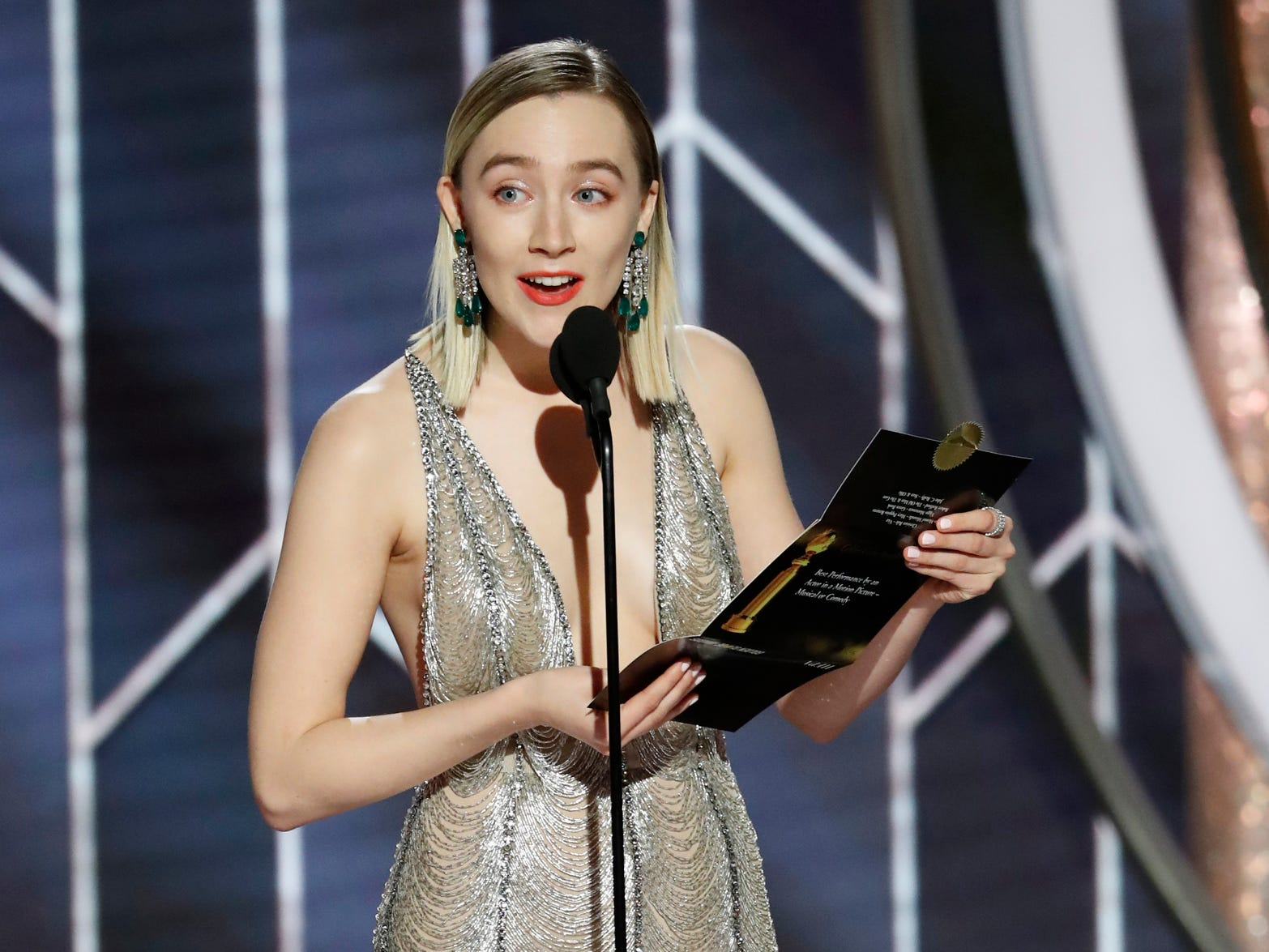 Saoirse Ronan presents during the 76th Golden Globe Awards.