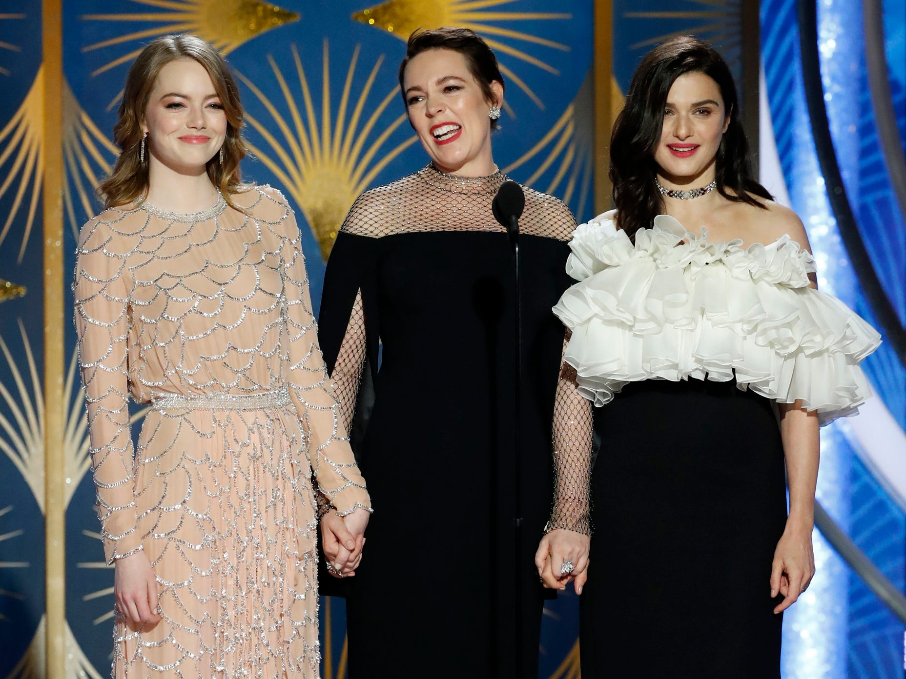 Emma Stone, Olivia Colman, and Rachel Weisz during the 76th Golden Globe Awards.