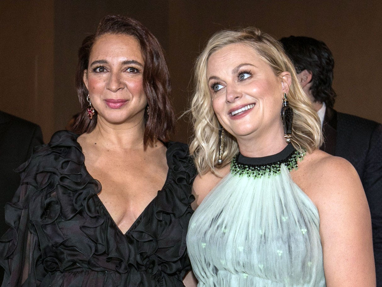 Maya Rudolph, left, and Amy Poehler are all smiles pre-show.