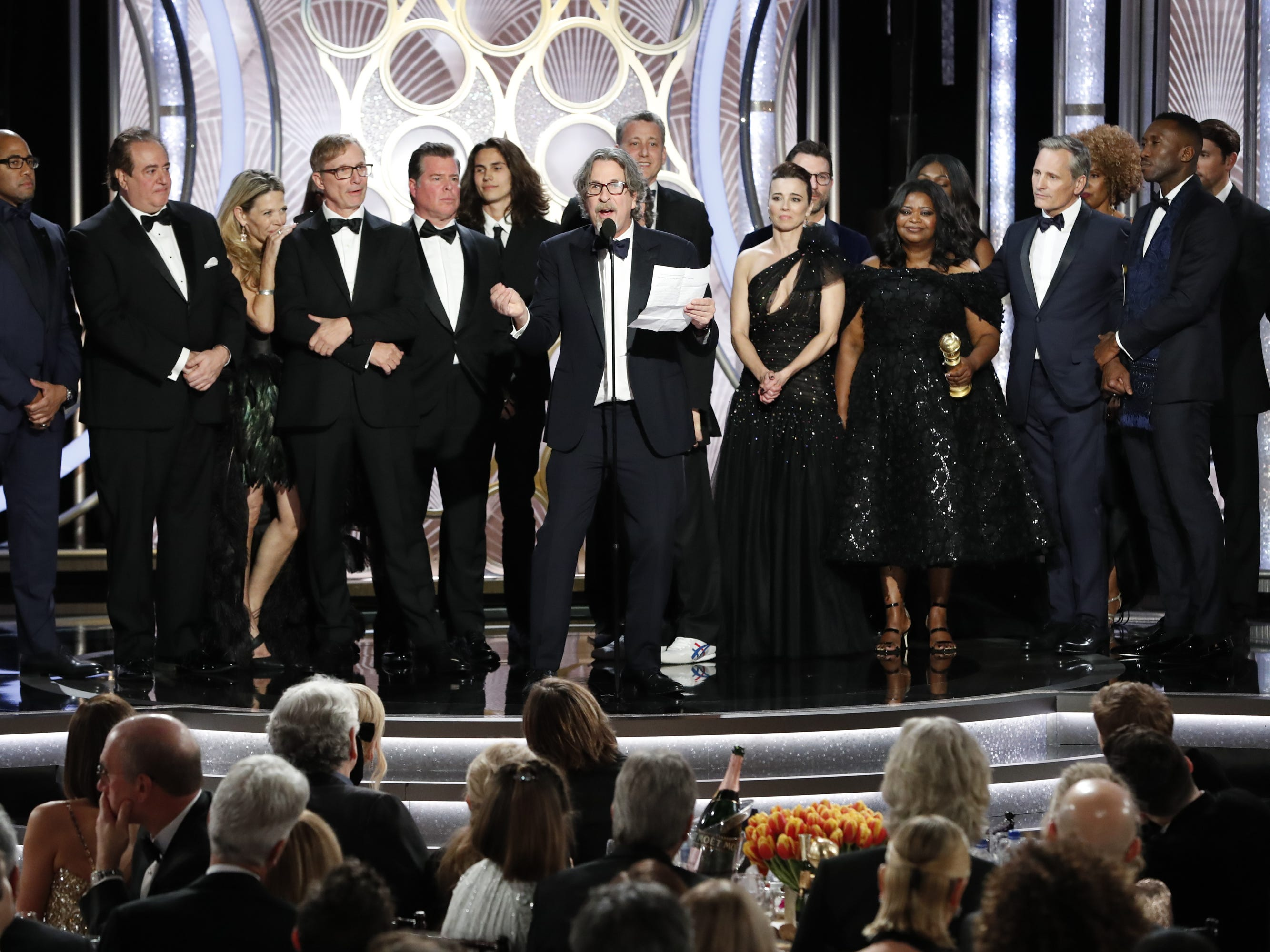 Peter Farrelly, accepts the award for Best Motion Picture, Musical or Comedy during the 76th Golden Globe Awards.