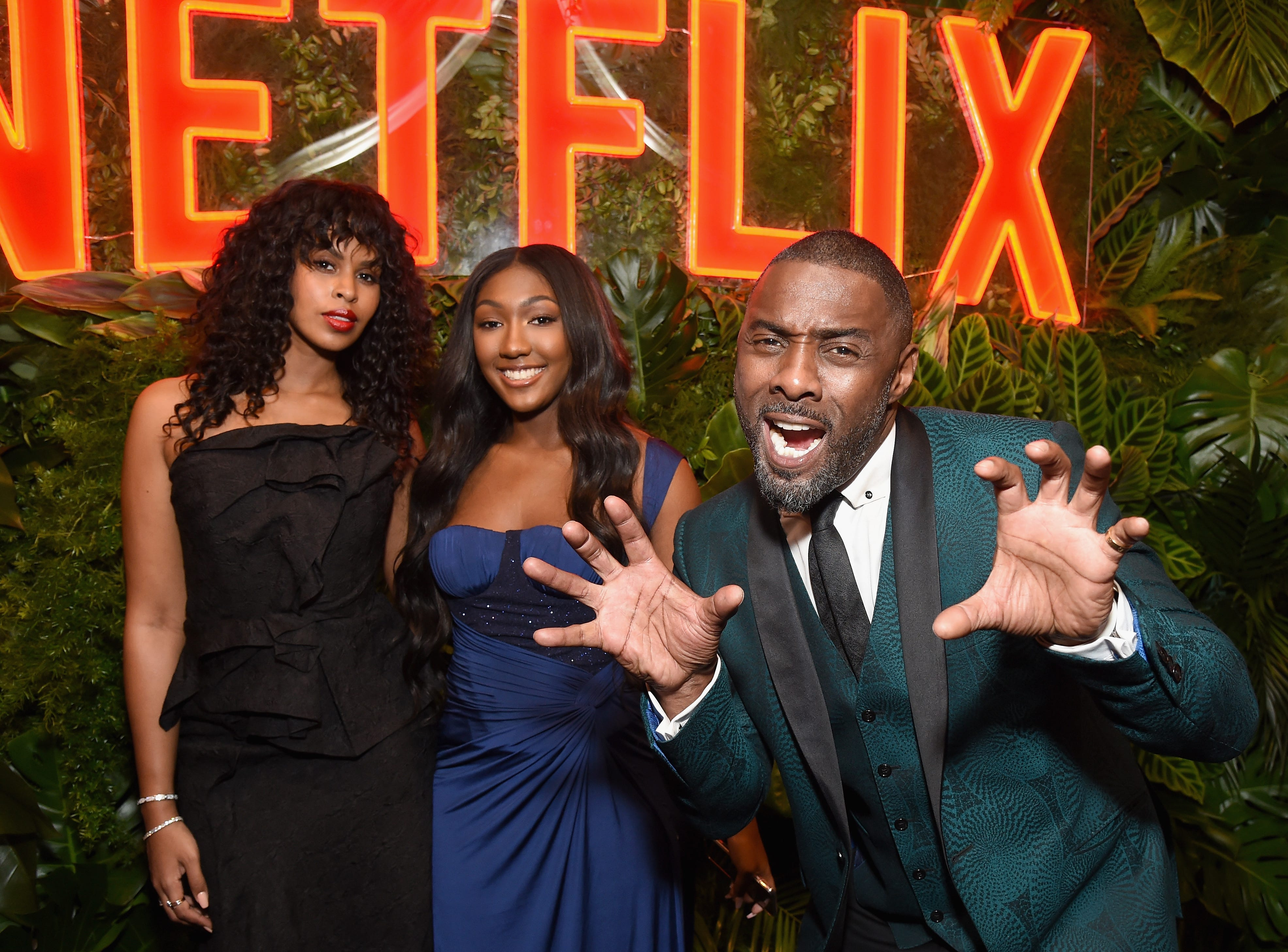 LOS ANGELES, CA - JANUARY 06:  (L-R) Sabrina Dhowre, Isan Elba, and Idris Elba attend the Netflix 2019 Golden Globes After Party on January 6, 2019 in Los Angeles, California.  (Photo by Tommaso Boddi/Getty Images for Netflix) ORG XMIT: 775263107 ORIG FILE ID: 1078630632