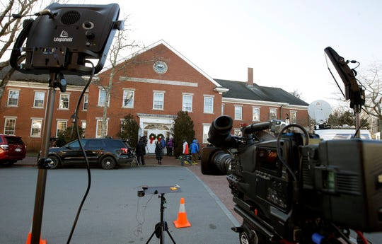 The media began gathering early outside the Nantucket courthouse to cover Kevin Spacey expected at his arraignment on a sex-crime charge, Jan. 7, 2019, on Nantucket Island, Mass.