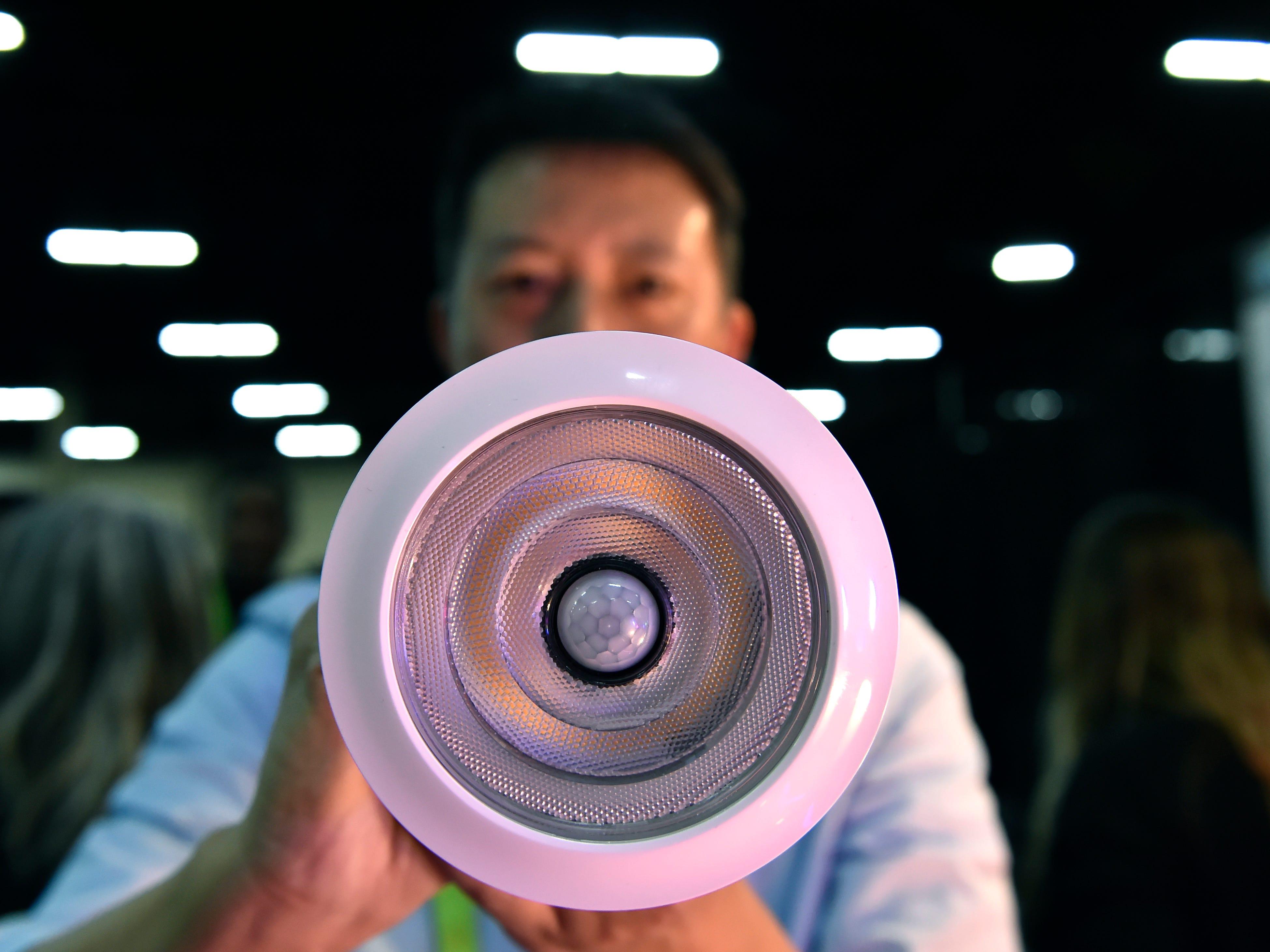 A Sengled smart LED flood light with a built in motion sensor.