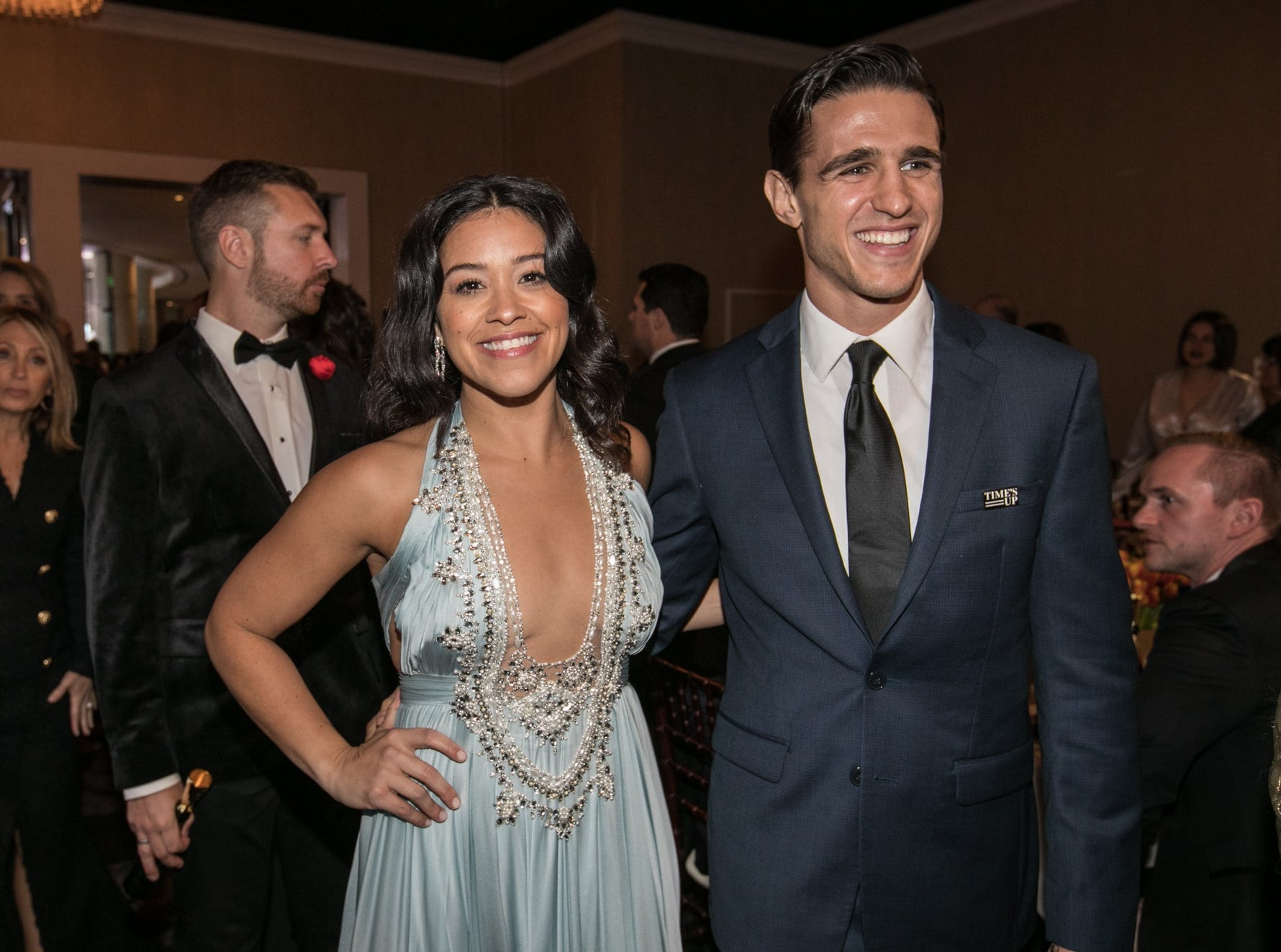 Jan 6, 2019; Beverly Hills, CA, USA; Gina Rodriguez and  Joe LoCicero arrives during the 76th Golden Globe Awards in the International Ballroom at the Beverly Hilton. Mandatory Credit: David Sprague-USA TODAY (Via OlyDrop)