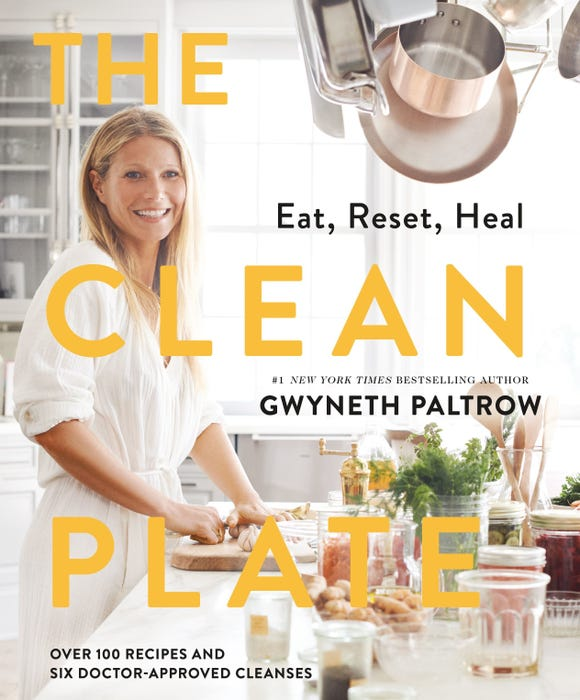 "Gwyneth Paltrow smiles on the cover of ""The Clean Plate."""