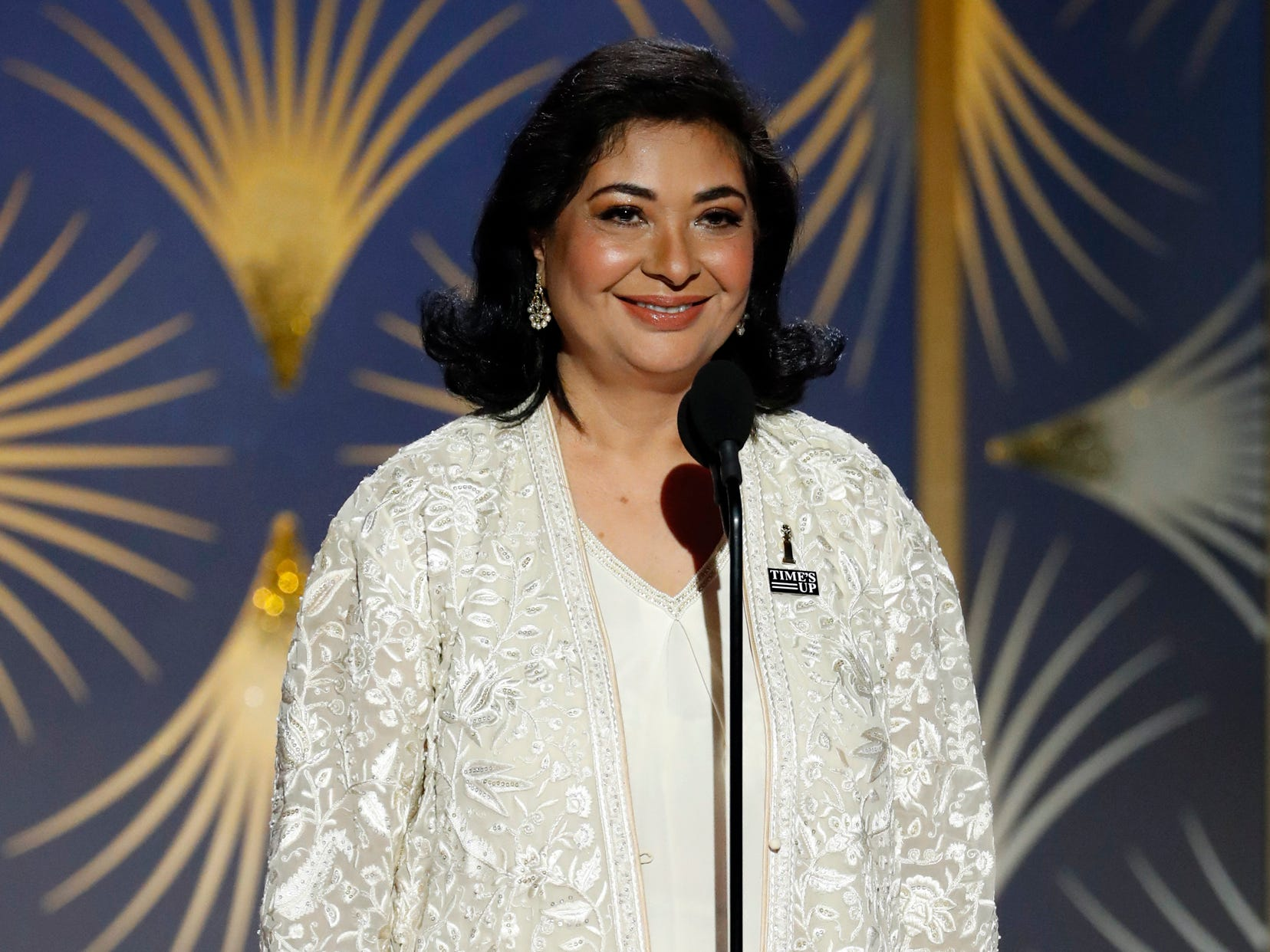Meher Tatna presents during the 76th Golden Globe Awards.