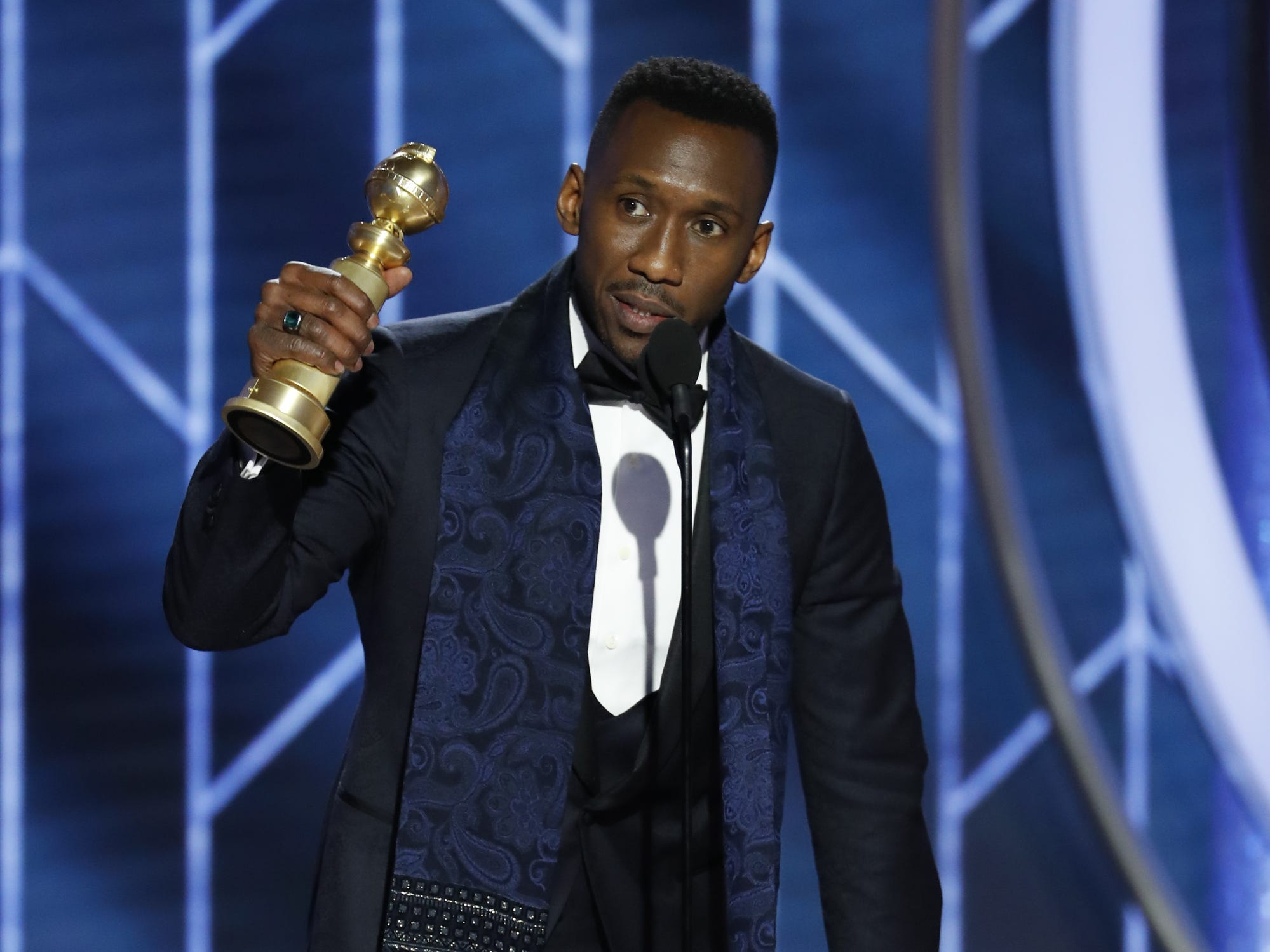 Mahershala Ali, accepts the award for Best Supporting Actor - Motion Picture during the 76th Golden Globe Awards.