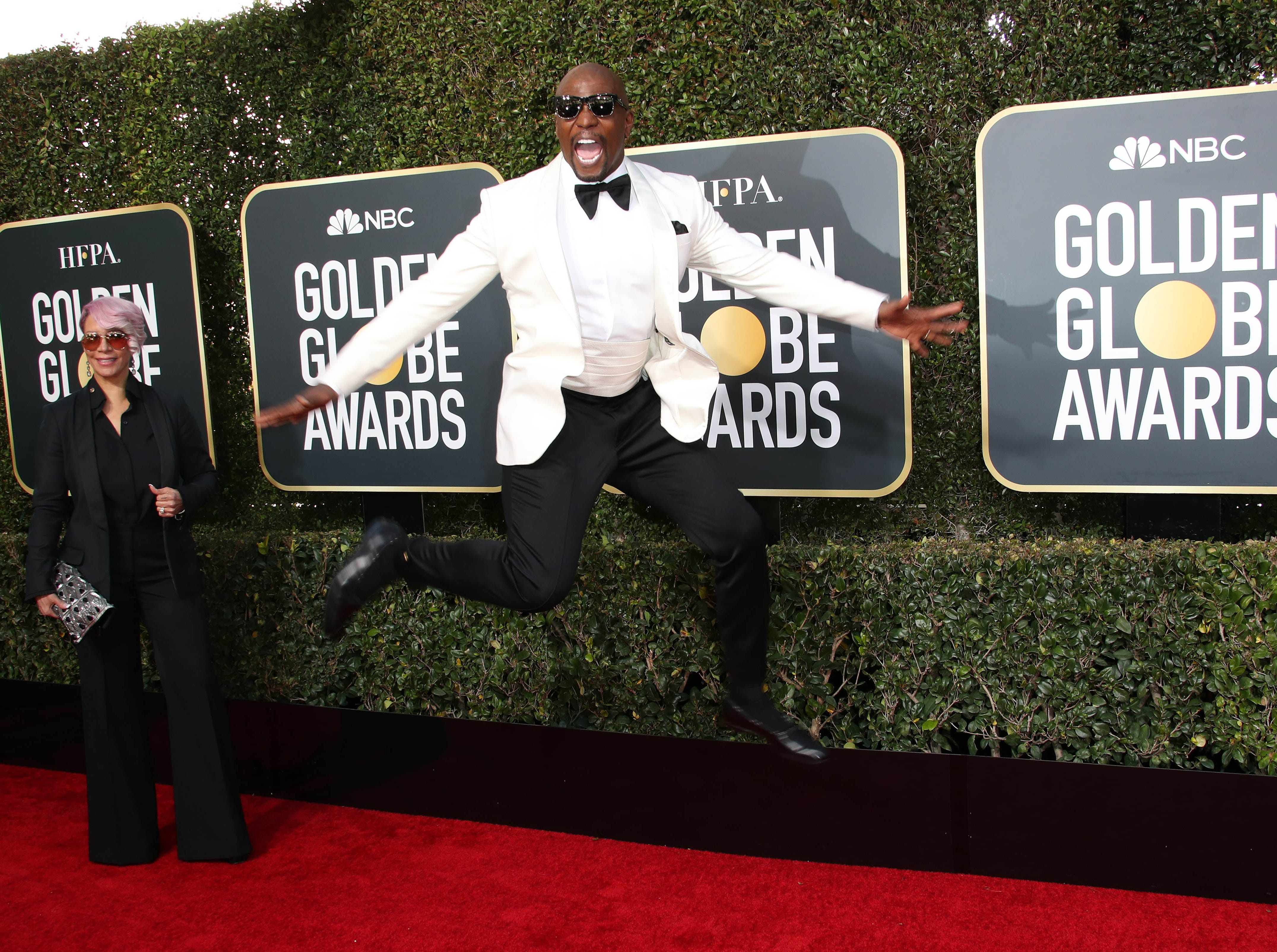 Jan 6, 2019; Beverly Hills, CA, USA; Rebecca King-Crews, left and Terry Crews arrive at the 76th Golden Globe Awards at the Beverly Hilton. Mandatory Credit: Dan MacMedan-USA TODAY NETWORK ORIG FILE ID:  20190106_ajw_usa_741.jpg