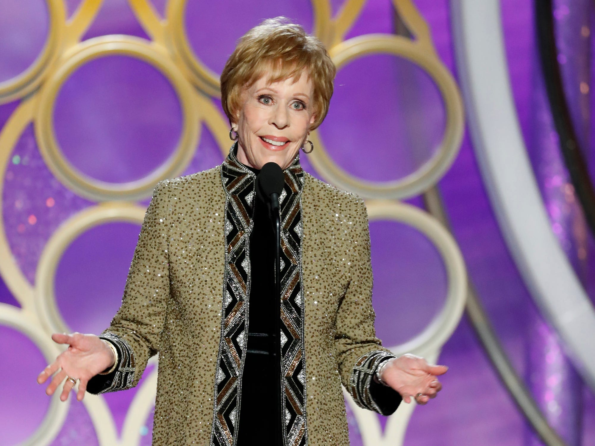 Carol Burnett accepts the Carol Burnett TV Achievement Award during the 76th Golden Globe Awards.
