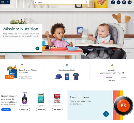 Easier shopping navigation on the new Walmart.com.