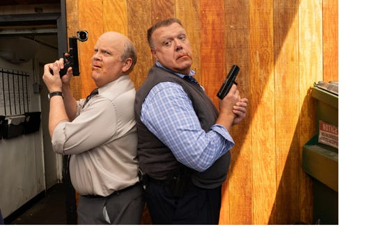 Those saucy tell-tale mustaches on Hitchcock (Dirk Blocker), left, and Scully (Joel McKinnon Miller) provide a clue to their earlier police careers in this exclusive photo from an upcoming episode of NBC's 'Brooklyn Nine-Nine.'
