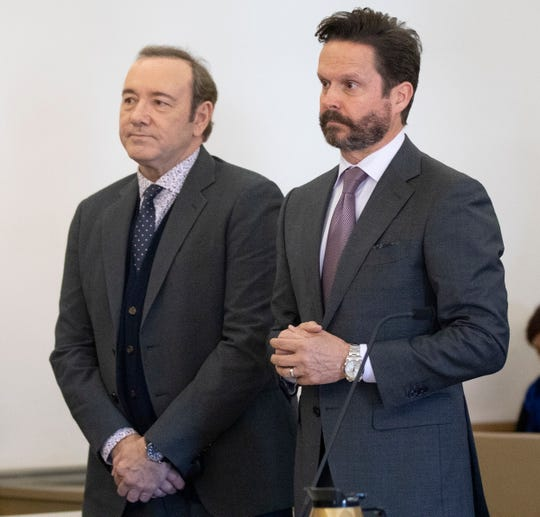 Kevin Spacey and his defense attorney Alan Jackson in the courtroom at Nantucket District Court for Spacey's arraignment on Jan. 7, 2019, on Nantucket, Mass.