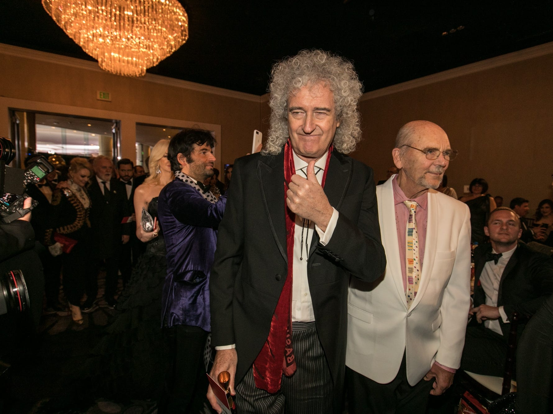 Jan 6, 2019; Beverly Hills, CA, USA; Queen guitarist Brian May arrives during the 76th Golden Globe Awards in the International Ballroom at the Beverly Hilton. Mandatory Credit: David Sprague-USA TODAY (Via OlyDrop)