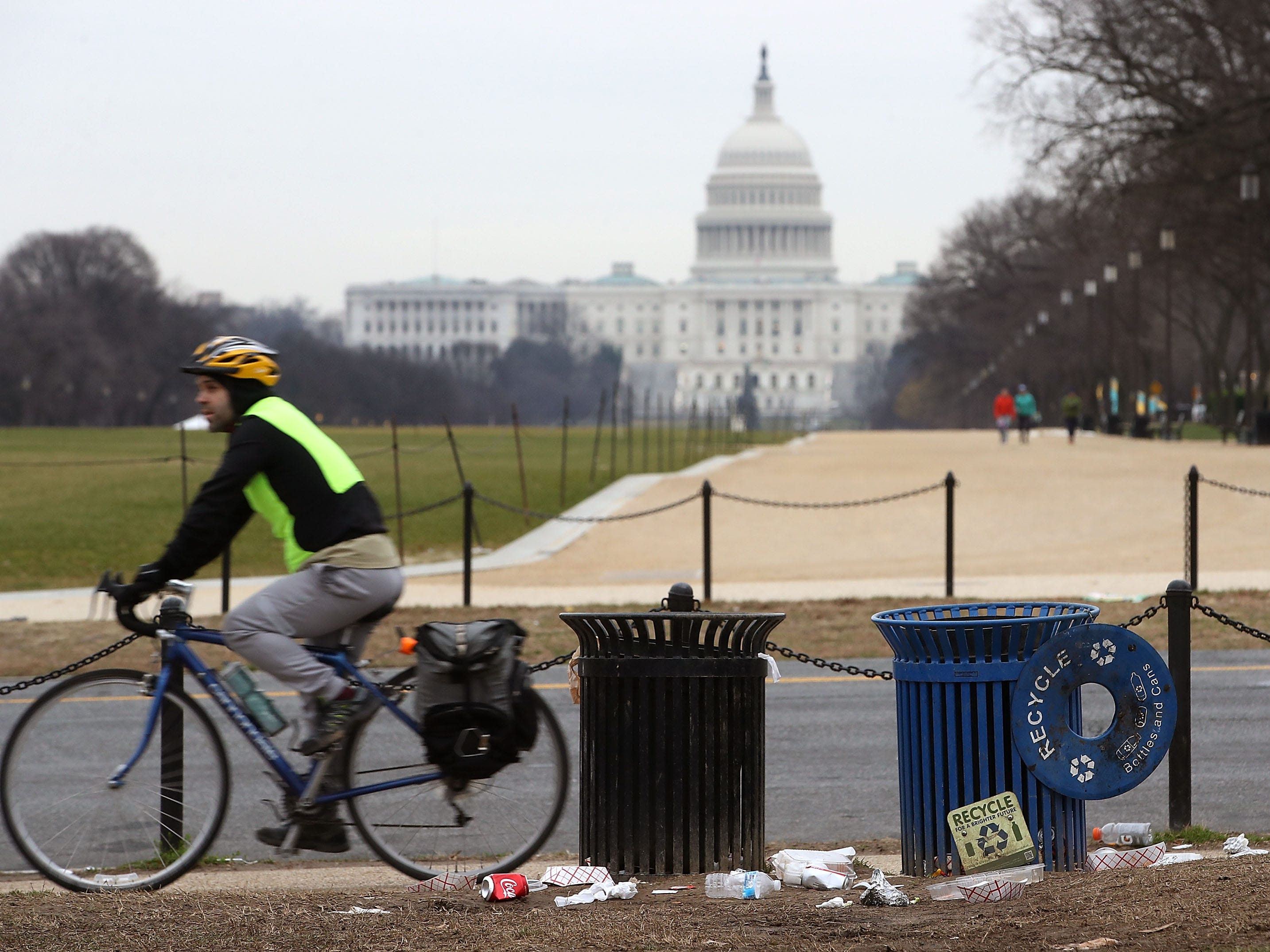 Trash lays on the grounds of the National Mall during the partial shutdown of the U.S. government on Jan. 2, 2019.
