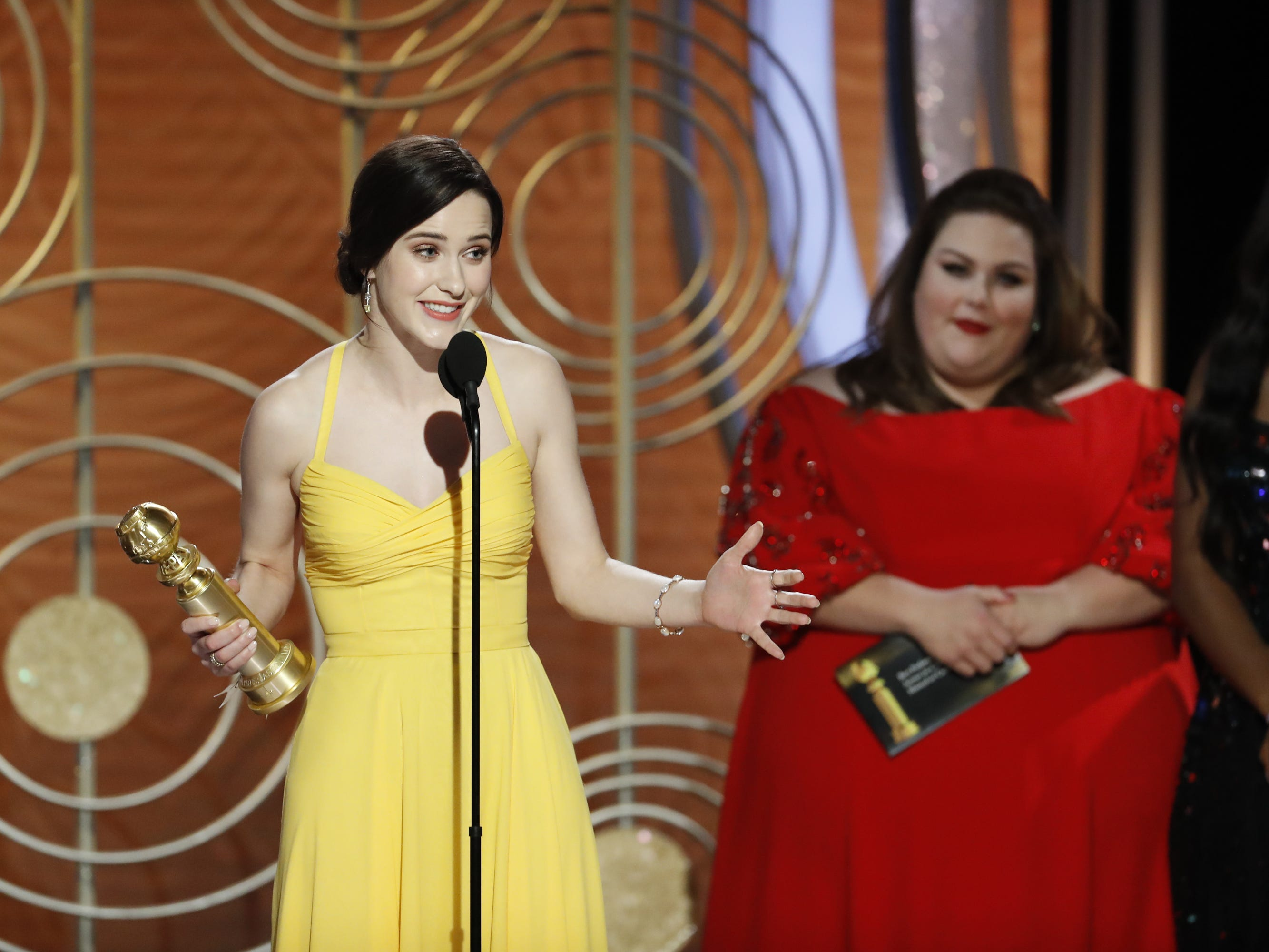 Rachel Broshahan accepts the award for Best Actress - TV Series, Musical or Comed during the 76th Golden Globe Awards.