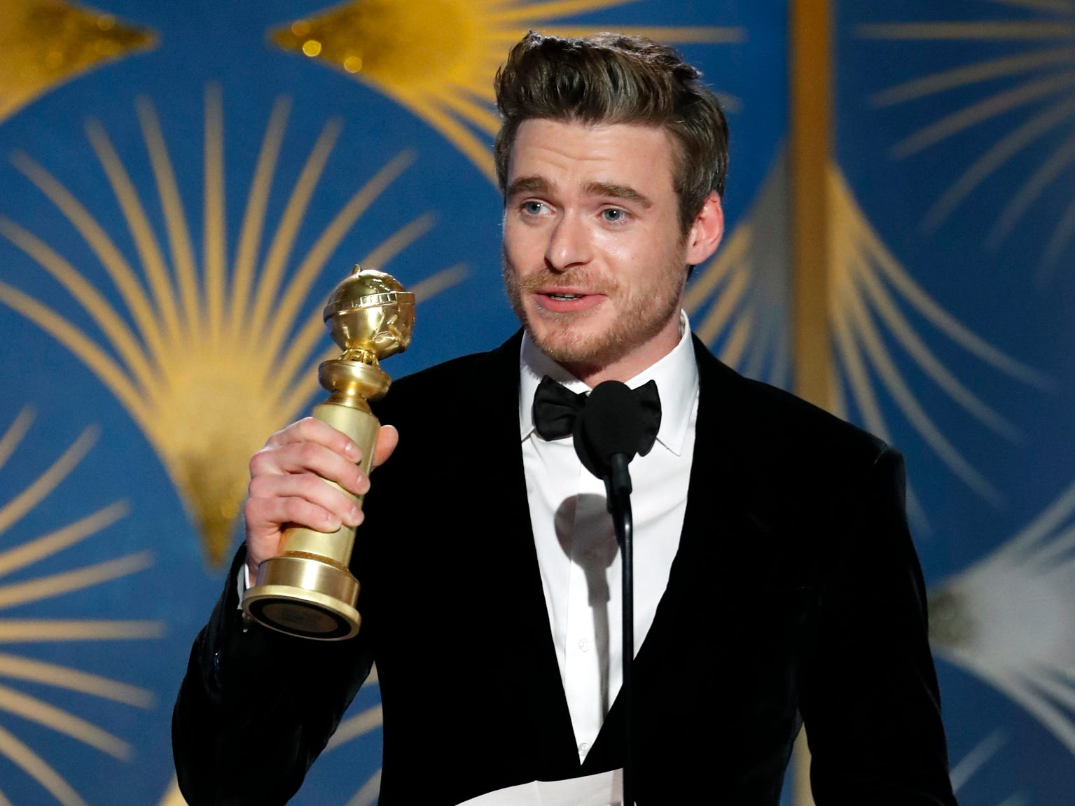 Richard Madden, winner of Best Actor - TV Series, Drama during Golden Globe Awards.