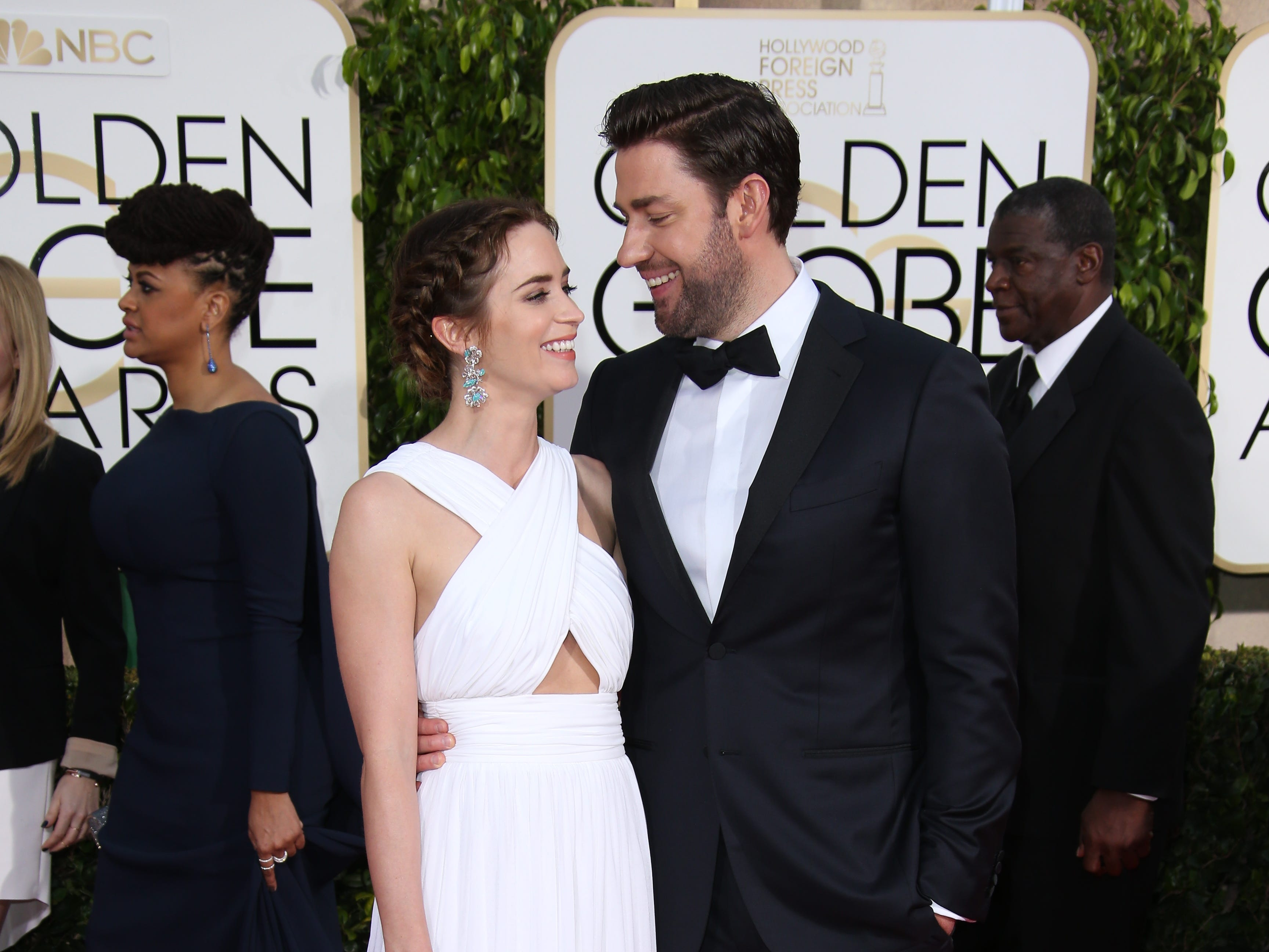 1/11/15 3:58:22 PM -- Los Angeles, CA, U.S.A  -- Emily Blunt and John Krasinski arrive at the 72nd annual Golden Globe Awards --      Photo by Dan MacMedan, USA TODAY contract photographer  ORG XMIT:  DM 132339 2015 GOLDEN GLOB 1/5/2015 [Via MerlinFTP Drop]