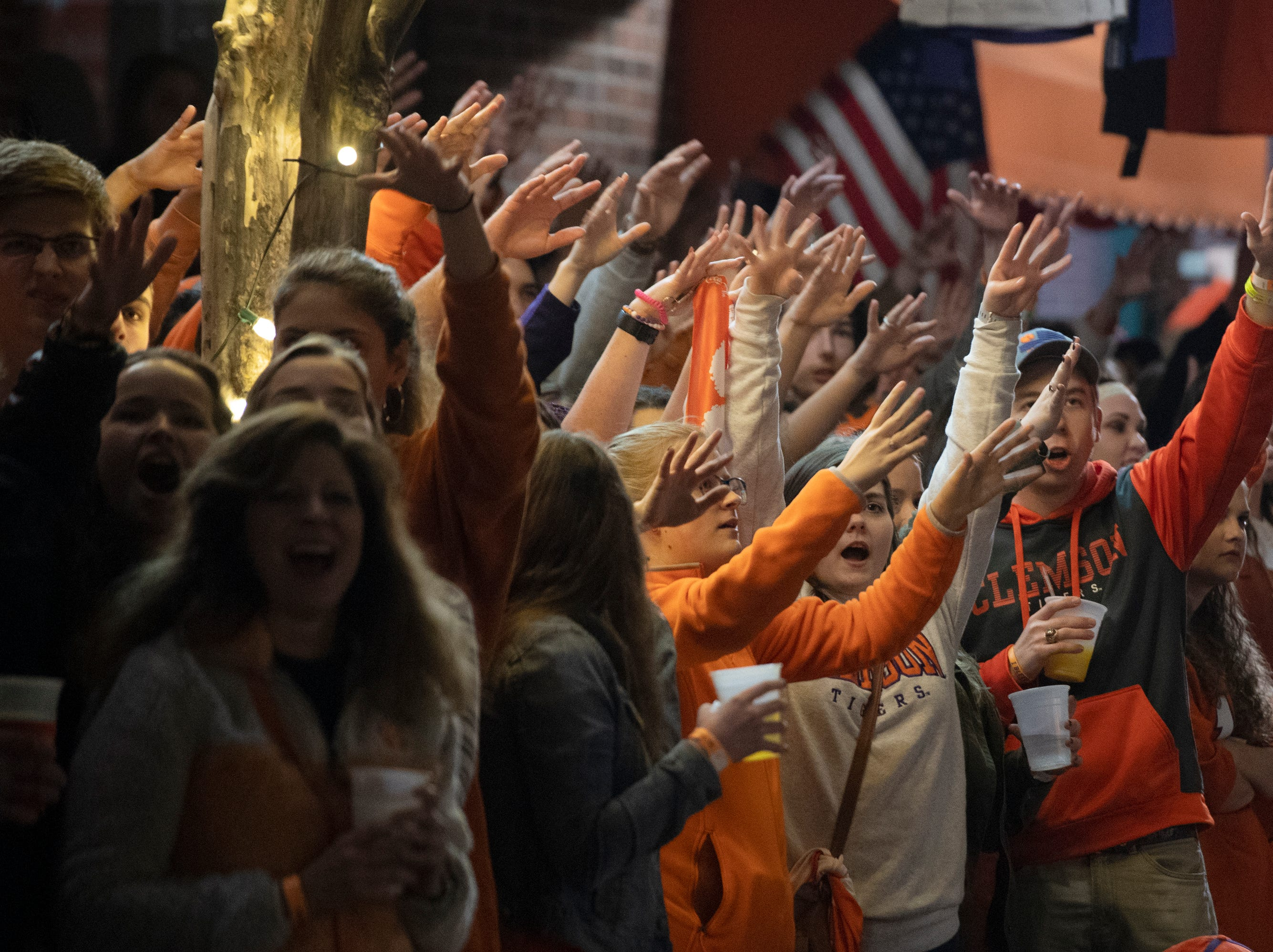 Clemson fans wait for the team to kick a field goal while watching Clemson play Alabama in the College Football Playoff National Championship Monday, Jan. 7, 2019.