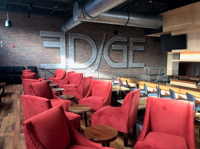Among the dining spaces at The Edge in Jackson is a third-level lounge, where diners can order from the bar menu,