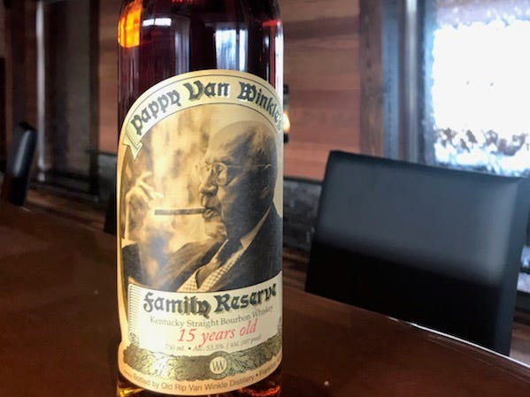 The Edge will offer an extensive spirits program, including this rare bottle of Pappy Van Winkle bourbon.