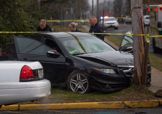 Scene of accident on Butler Street in Keyport where four pedestrians were hit and three taken to hospital.