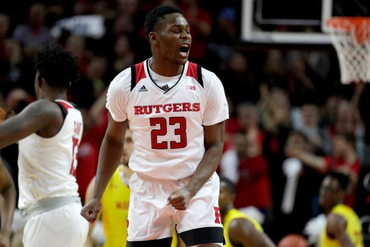 Rutgers guard Montez Mathis reacts after shooting a basket against Maryland at the RAC