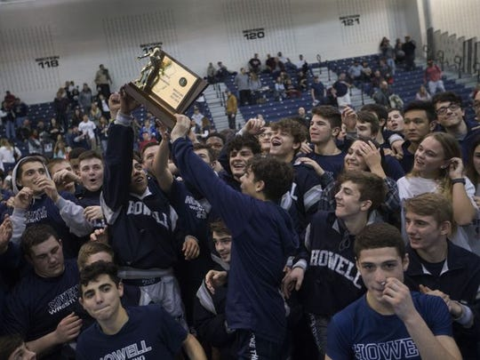 Howell, shown with the NJSIAA Group V championship plaque on Feb. 11, 2018, is ranked No. 3 in the first New Jersey Wrestling Writers Association Top 20 of